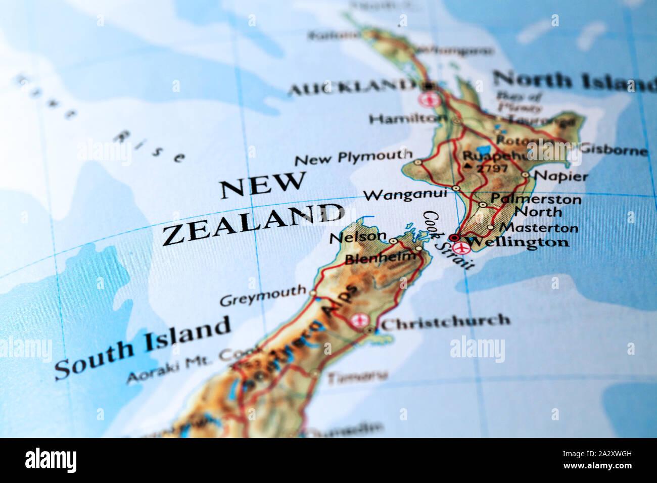 Cartina Nuova Zelanda.Mappa Nuova Zelanda Foto Stock Alamy
