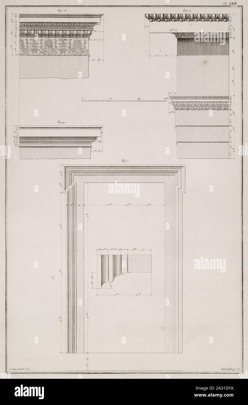 Eretteo- 1 View e i dettagli della finestra 2 Vista del cornicione del lato ovest 3 Colonna della antae 4 Geison - Le Roy Julien David - 1770. Foto Stock