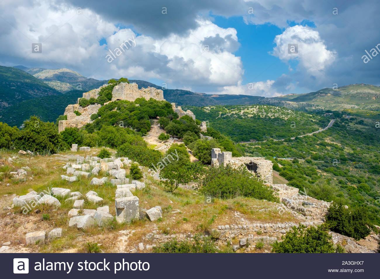 Fortezza di Nimrod (Qal'at al-Subeiba) sulle pendici del monte Hermon, nord del Golan. Foto Stock