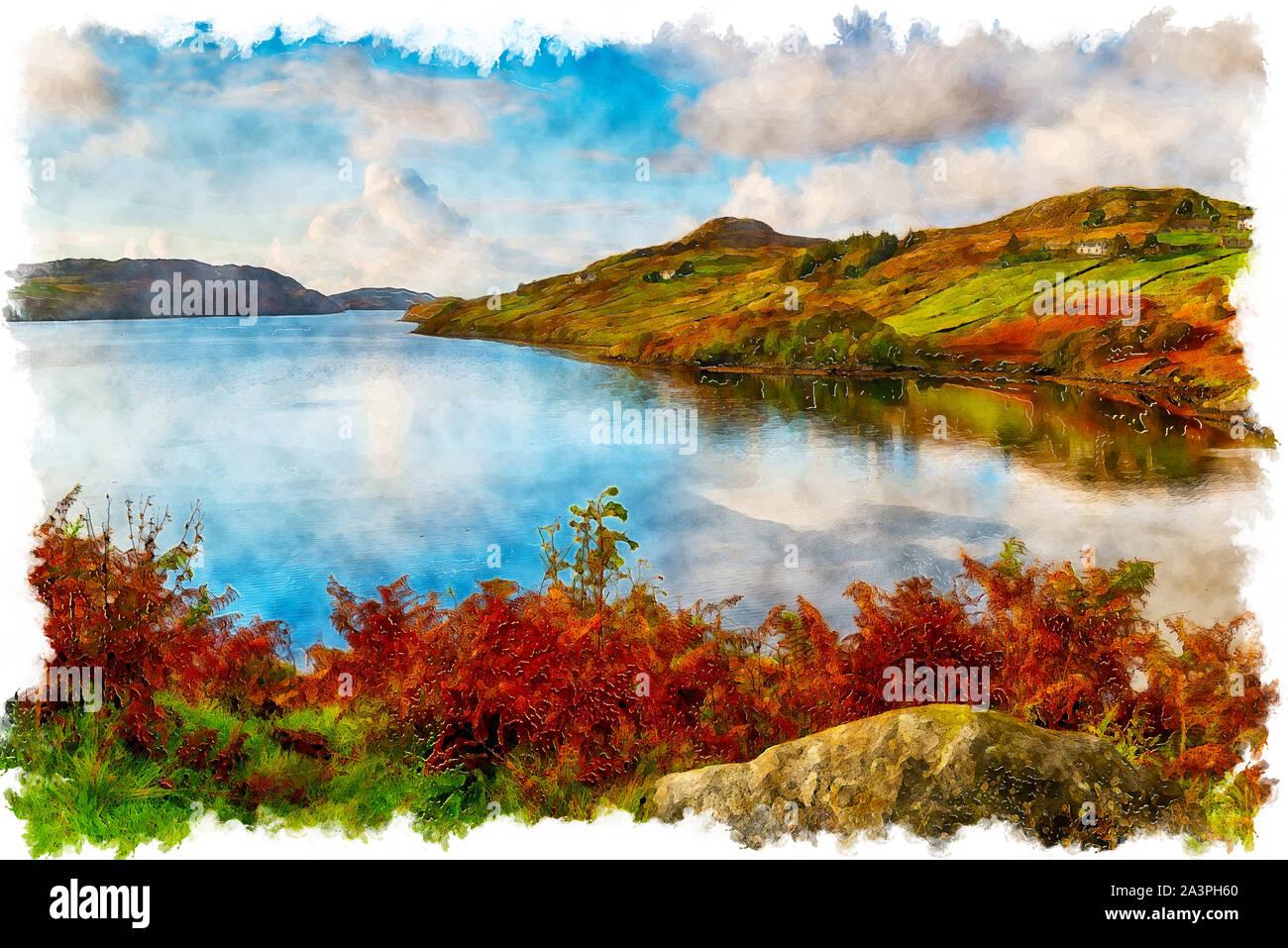 La pittura ad acquerello del Loch Inchard a Kinlochbervie nelle Highlands della Scozia Foto Stock