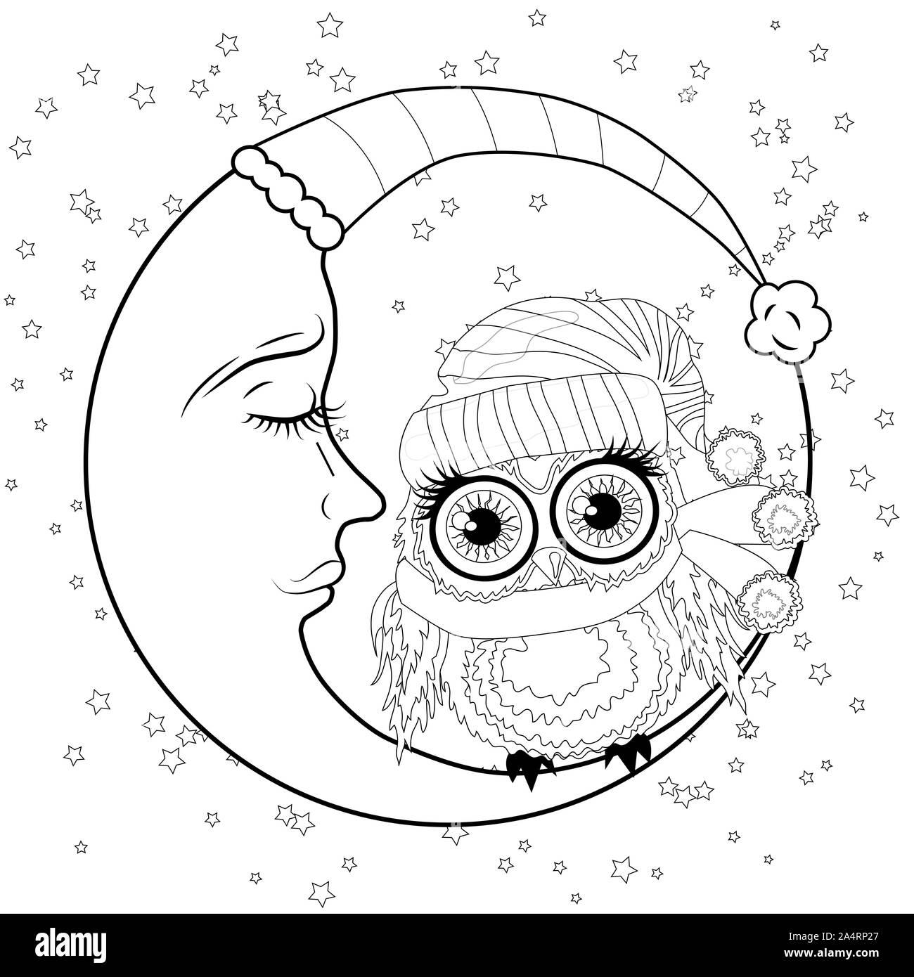 Libro Da Colorare Per Pazienti Adulti E Bambini Di Eta Superiore Pagina Di Colorazione Con Un Gufo Sulla Luna Tra Le Stelle Foto Stock Alamy