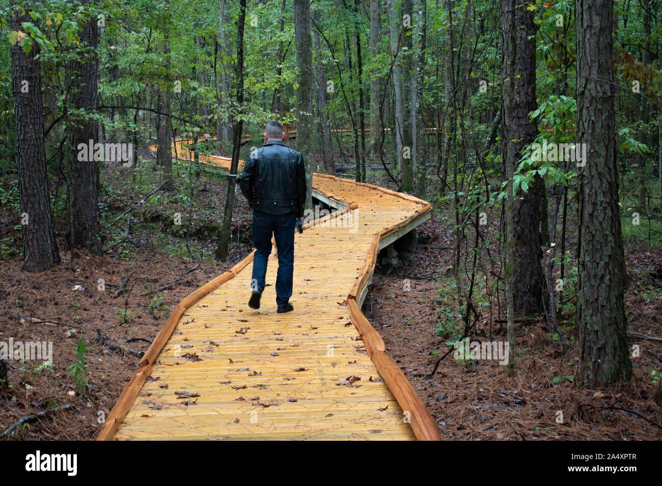 Un anziano uomo prende il suo cane per una passeggiata attraverso un bosco in Alabama. Foto Stock