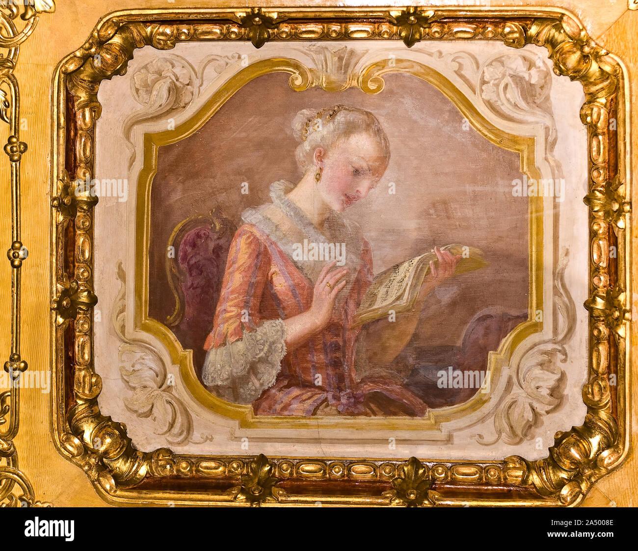 Italia Piemonte Venaria Reale Parco Regionale La Mandria Castello Sala Da Pranzo Soffitto Dipinto A Cassettoni Foto Stock Alamy