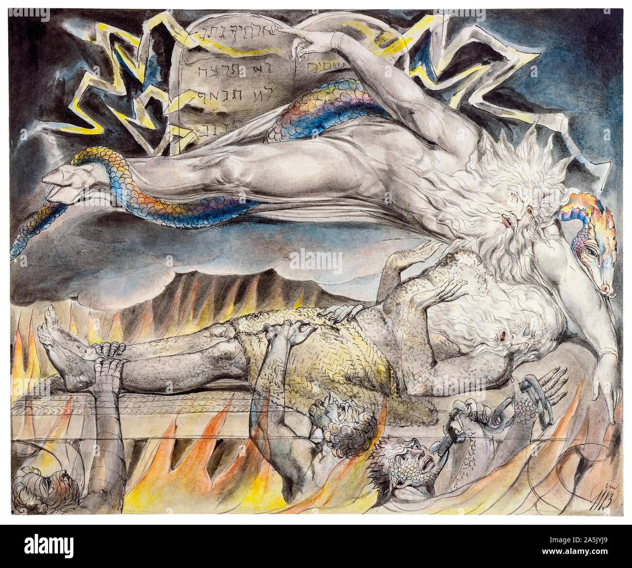 William Blake, processo del male sogni, pittura, 1805-1810 Foto Stock