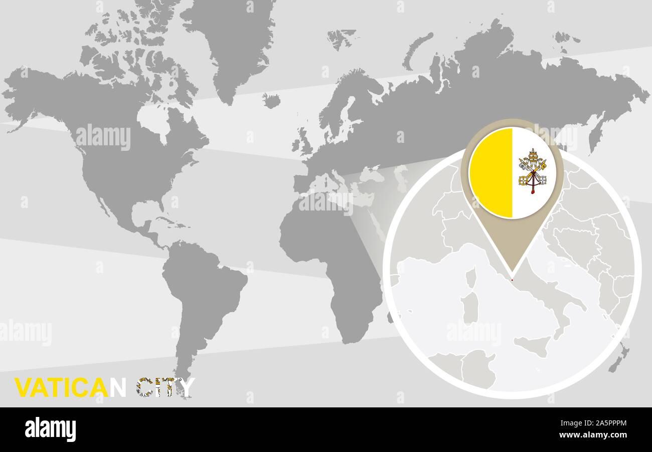Cartina Mondo Ingrandita.Mappa Del Mondo Con Ingrandito Citta Del Vaticano Citta Del Vaticano Bandiera E La Mappa Immagine E Vettoriale Alamy