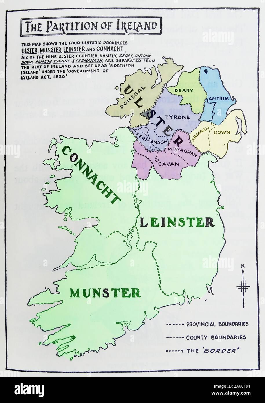Cartina Geografica Dell Irlanda.Mappa Di Partizione D Irlanda La Divisione Dell Isola Dell Irlanda In Due Distinti Territori L Irlanda Del Nord E Sud Irlanda Nel 1921 Foto Stock Alamy