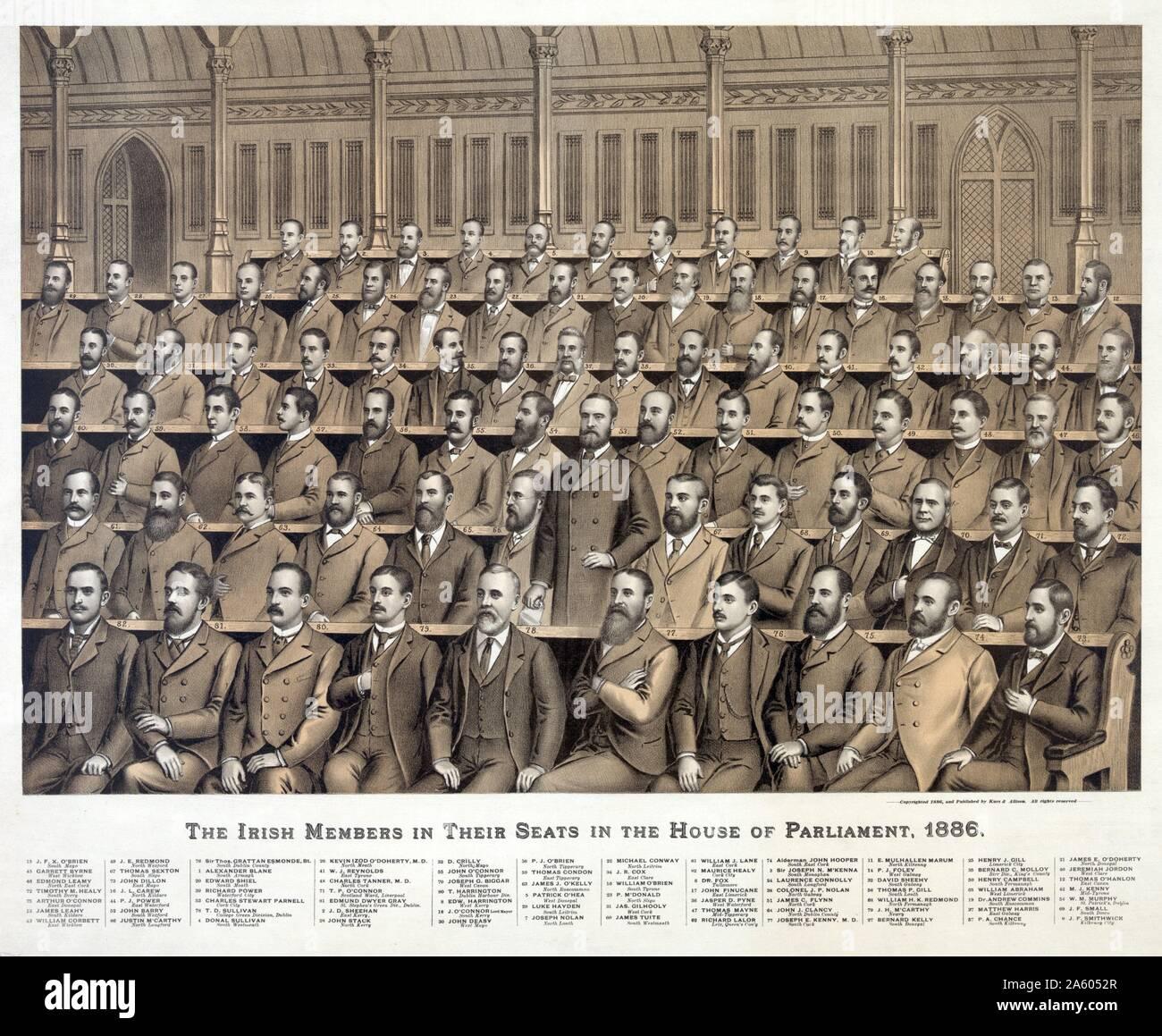 Membri irlandesi nelle loro sedi nella Casa del Parlamento; 1886 dalla parte posteriore a quella anteriore; 1. Alexander Blane; 2. J.D. Sheehan; 3. Sir Joseph N. M'Kenna; 4. Donal Sullivan; 5. Patrick O'Hea; 6. Il dott. Fox; 7. Joseph Nolan; 8. Edw. Harrington; 9. J.F. Smithwick; 10. William O'Brien; 11. E. Mulhallen Marum; 12. Thomas O'Hanlon; 13. James Leahy; 14. P.J. Foley; 15. J.F.X. O'Brien; 16. J.L. Carew; 17. John Finucane; 18. O'Connor; Lord Mayor; 19. Il dott. Andrea Commins; 20. Edward Shiel; 21. James E. O'Doherty; 22. Michael Conway; 23. P. M'DDonald; 24. Laurence Connolly; 25. Henry J. Gill; 26. Kevin Izod O'Doher Foto Stock
