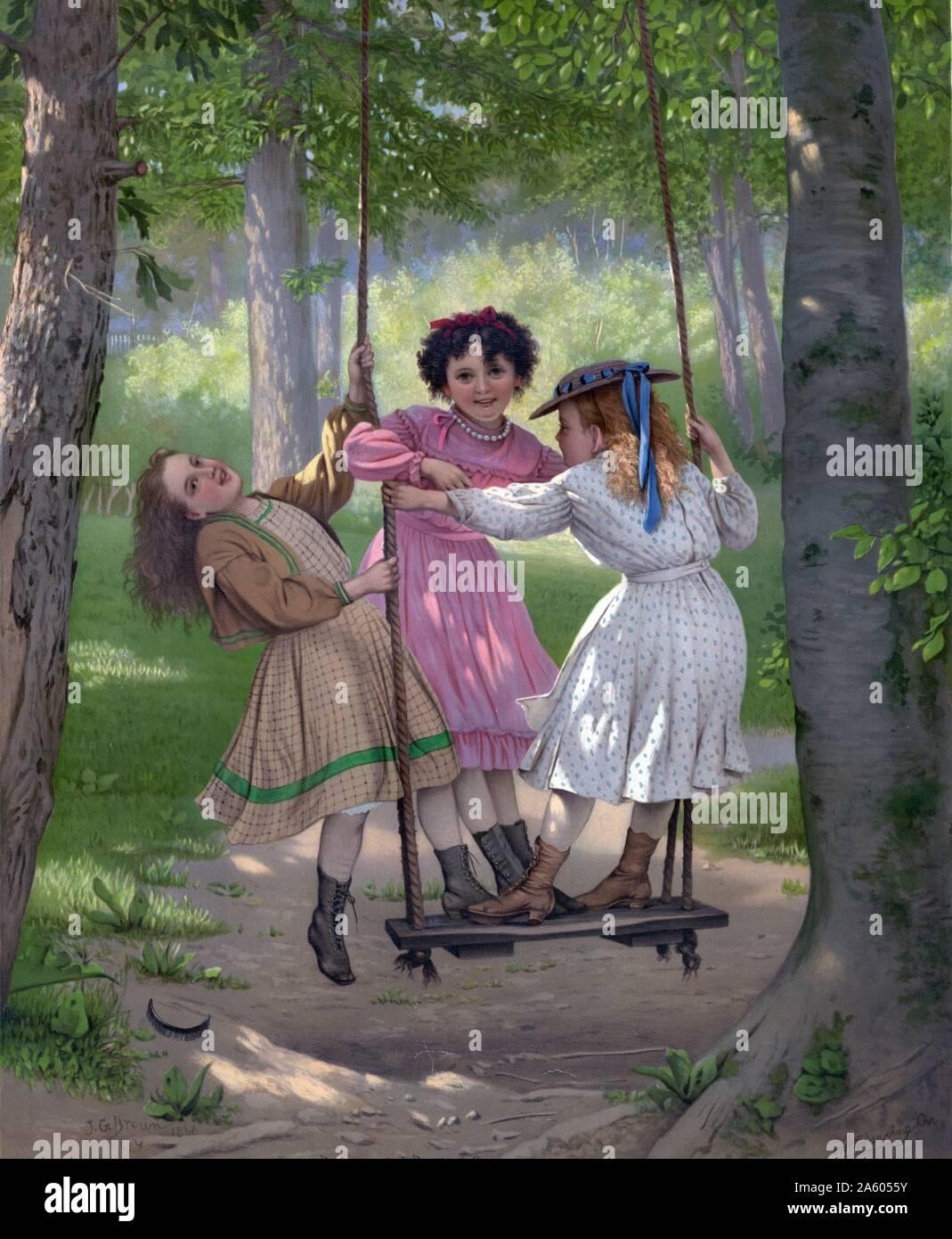 """I tre ragazzi di Tom"""", un dipinto in cui tre ragazze sono sorgeva su una riproduzione di oscillazione. Foto Stock"""