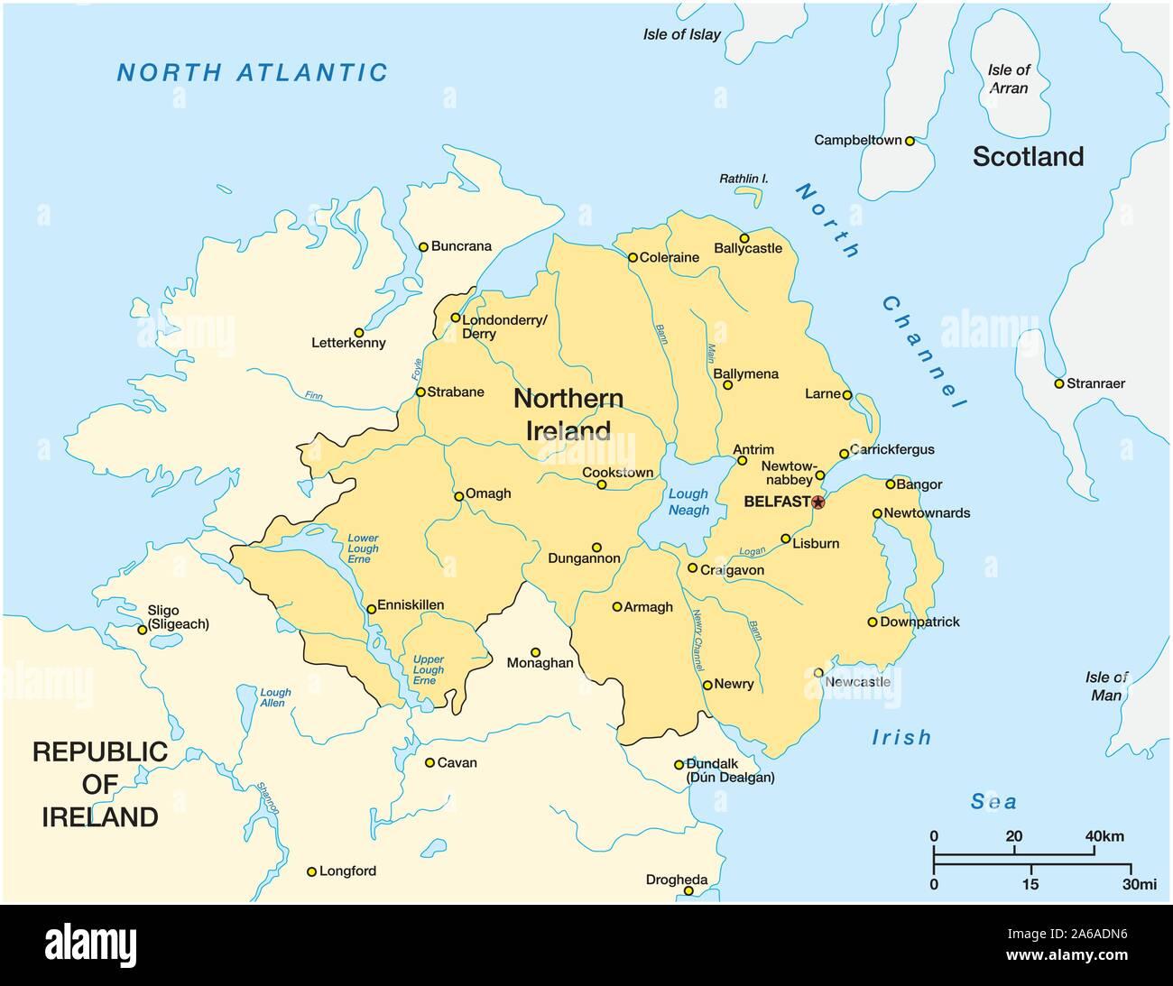 Cartina Dell Irlanda Del nord