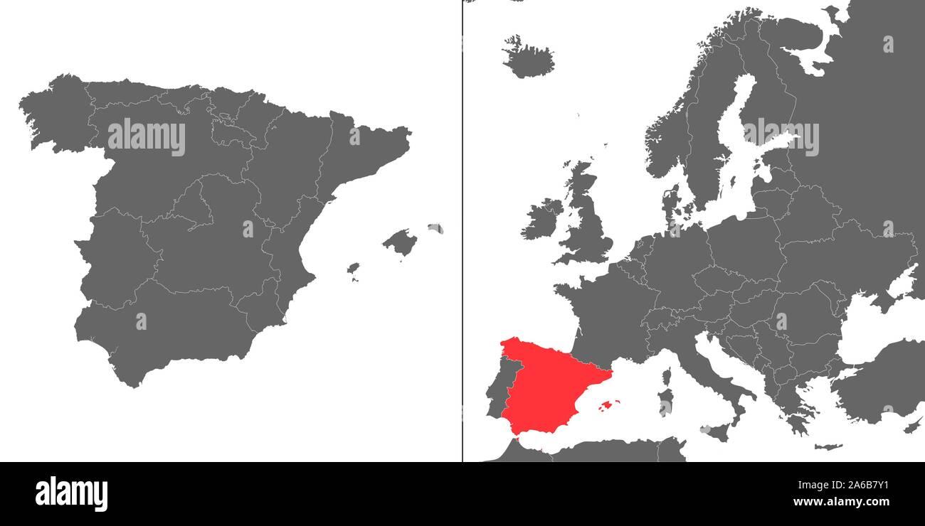 Cartina Spagna Geografica.Mappa Di Spagna Con Posizione Sulla Mappa Europea Immagine E Vettoriale Alamy
