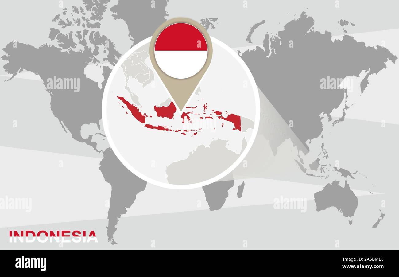 Cartina Indonesia Dettagliata.Mappa Del Mondo Con Ingrandito In Indonesia Bandiera Dell Indonesia E Della Mappa Immagine E Vettoriale Alamy