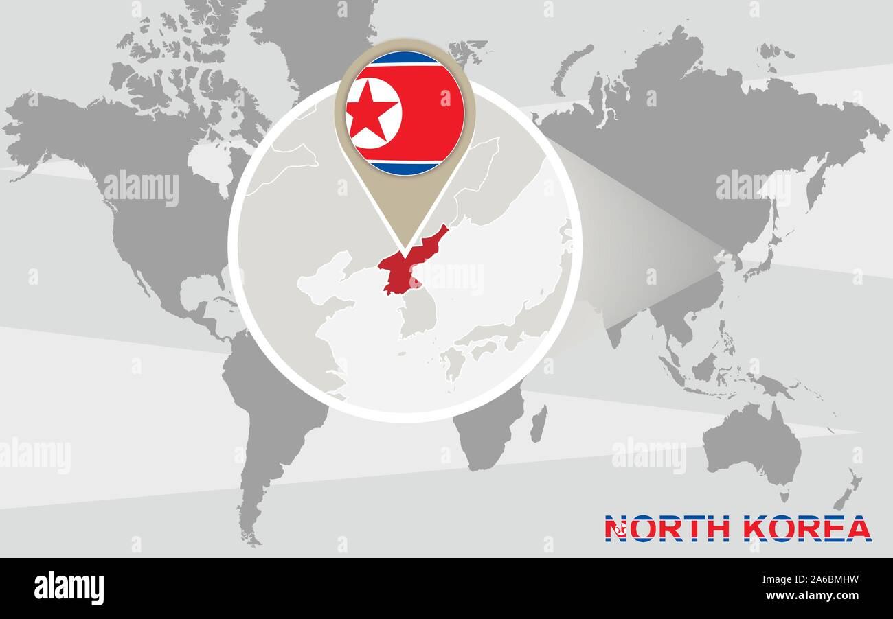 Cartina Mondo Ingrandita.Mappa Del Mondo Con Ingrandito Della Corea Del Nord La Corea Del Nord Bandiera E La Mappa Immagine E Vettoriale Alamy