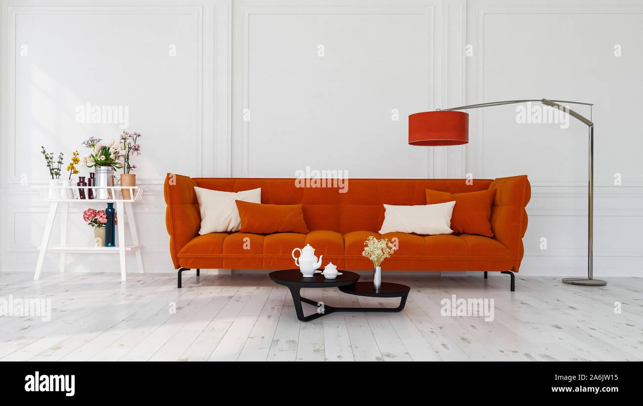 Design moderno degli interni di un soggiorno in ambienti chiusi appartamento, casa, ufficio, arancio brillante divano, fiori freschi e moderni interni dettagli su una parete bianca Foto Stock