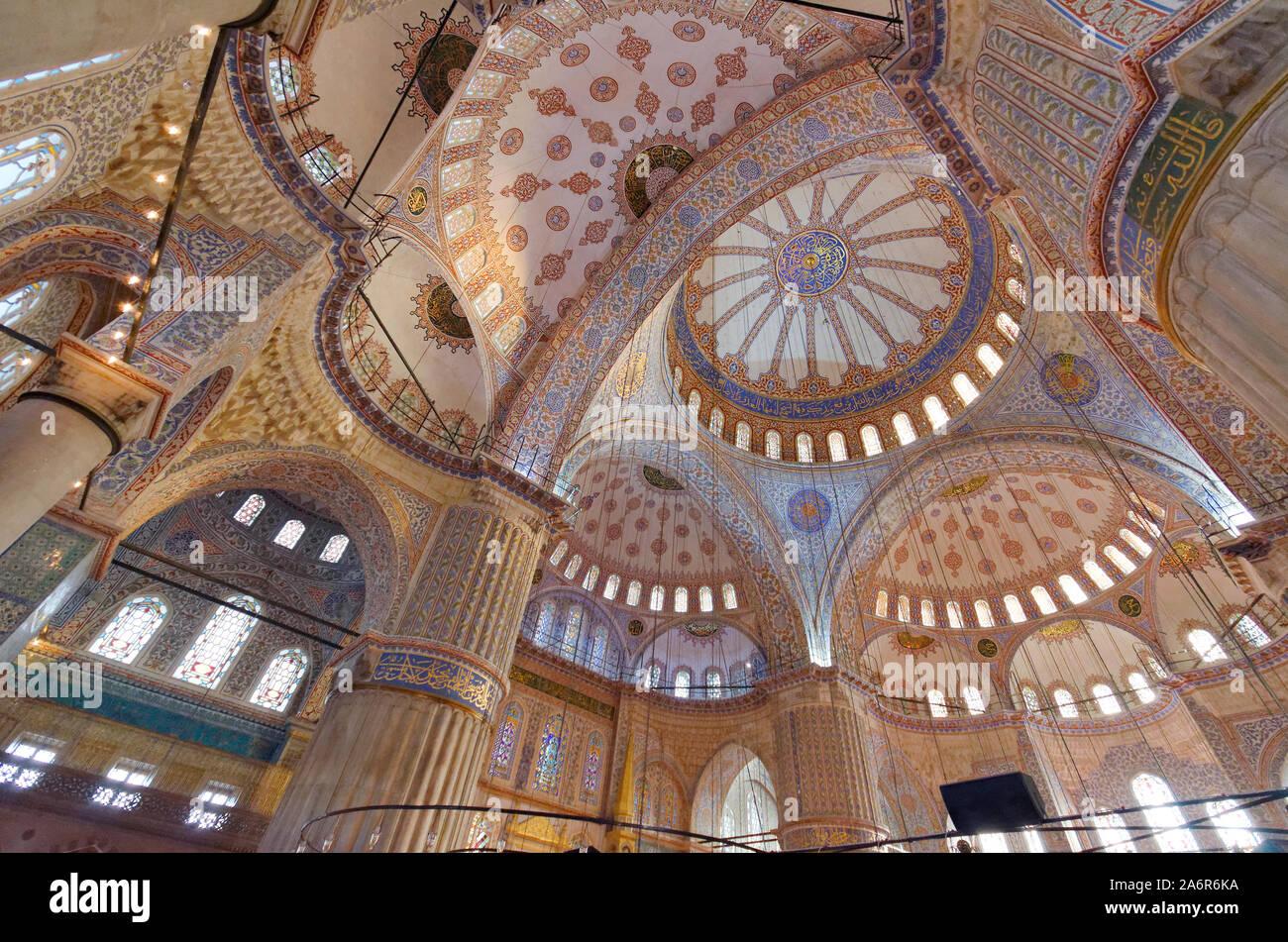 Interno della Moschea Blu, Istanbul, Turchia. Foto Stock