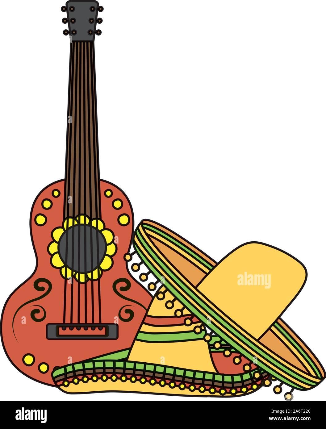 Tradizionale messicano cappelli con la chitarra Illustrazione Vettoriale
