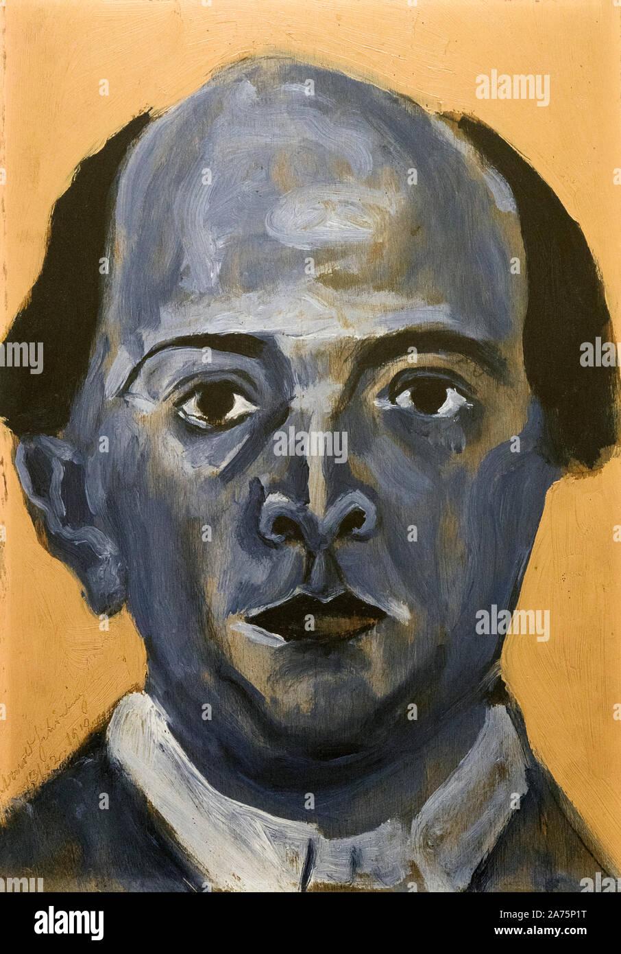 Arnold Schoenberg, Blu Self Portrait. Arnold Schoenberg, 1874 - 1951. Nato austriaco compositore americano e artista. Esposte in Malaga il ramo di Foto Stock