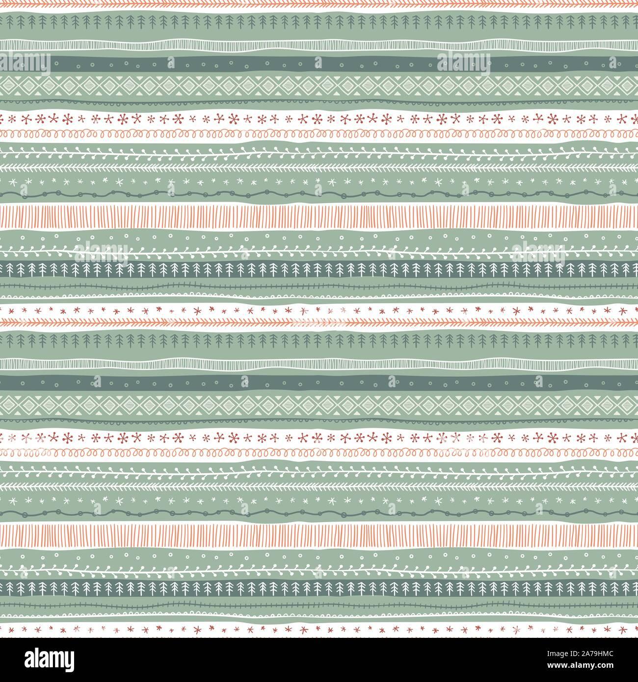 Divertimento e disegnati a mano astratto sfondo di Natale, seamless pattern, grande per i prodotti tessili, banner, confezionamento - disegno vettoriale Illustrazione Vettoriale