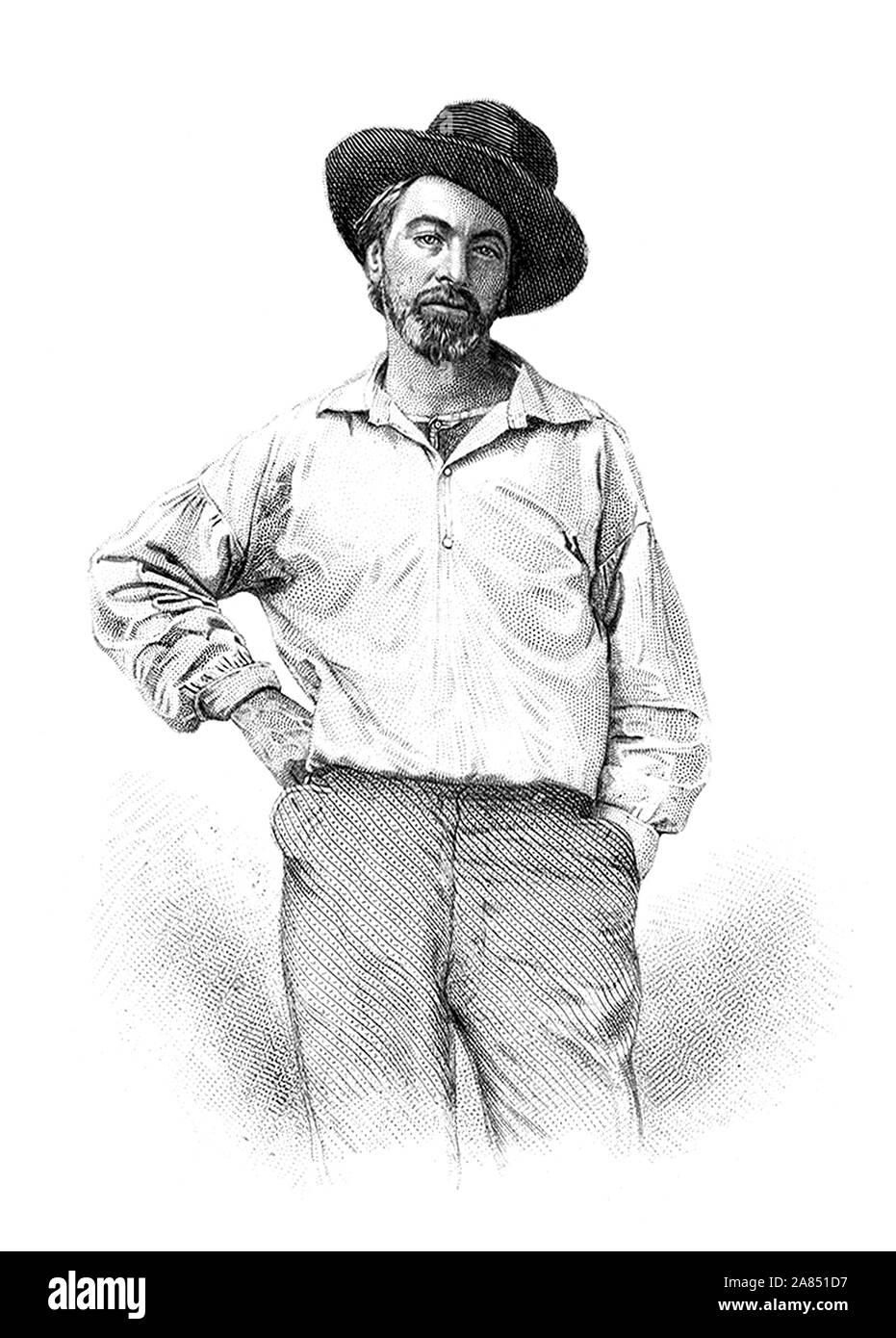 """Vintage ritratto del poeta americano, saggista e giornalista Walt Whitman (1819 - 1892). Incisione in acciaio di circa 1854 da Samuel Hollyer, basato su una perduta daguerreotype da Gabriel Harrison. Immagine usata come frontespizio nel 1855 prima edizione di Whitman """"Foglie di erba"""" la raccolta di poesie. Foto Stock"""
