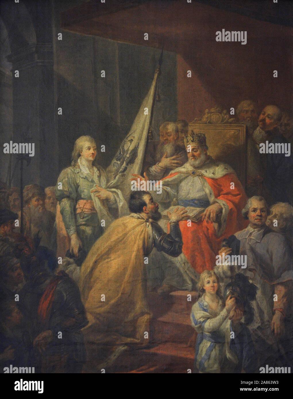 Marcello Bacciarelli (1731-1818). Pittore italiano. Il prussiano omaggio, 1796. Olio su tela. Xix secolo il polacco galleria d'Arte (Museo Sukiennice). Museo Nazionale di Cracovia. La Polonia. Foto Stock