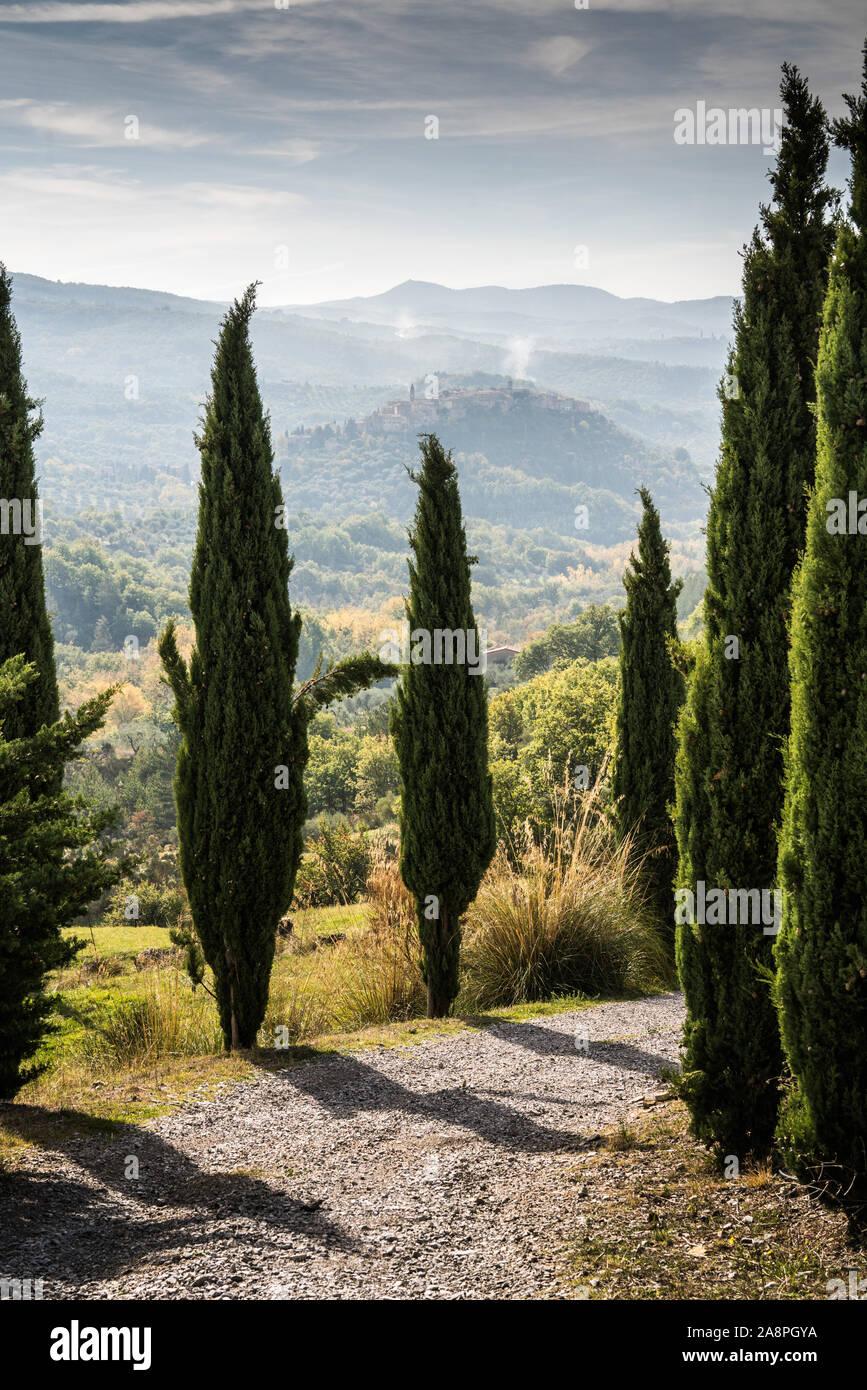 Veduta generale del Seggiano, Toscana, Italia, Europa. Foto Stock