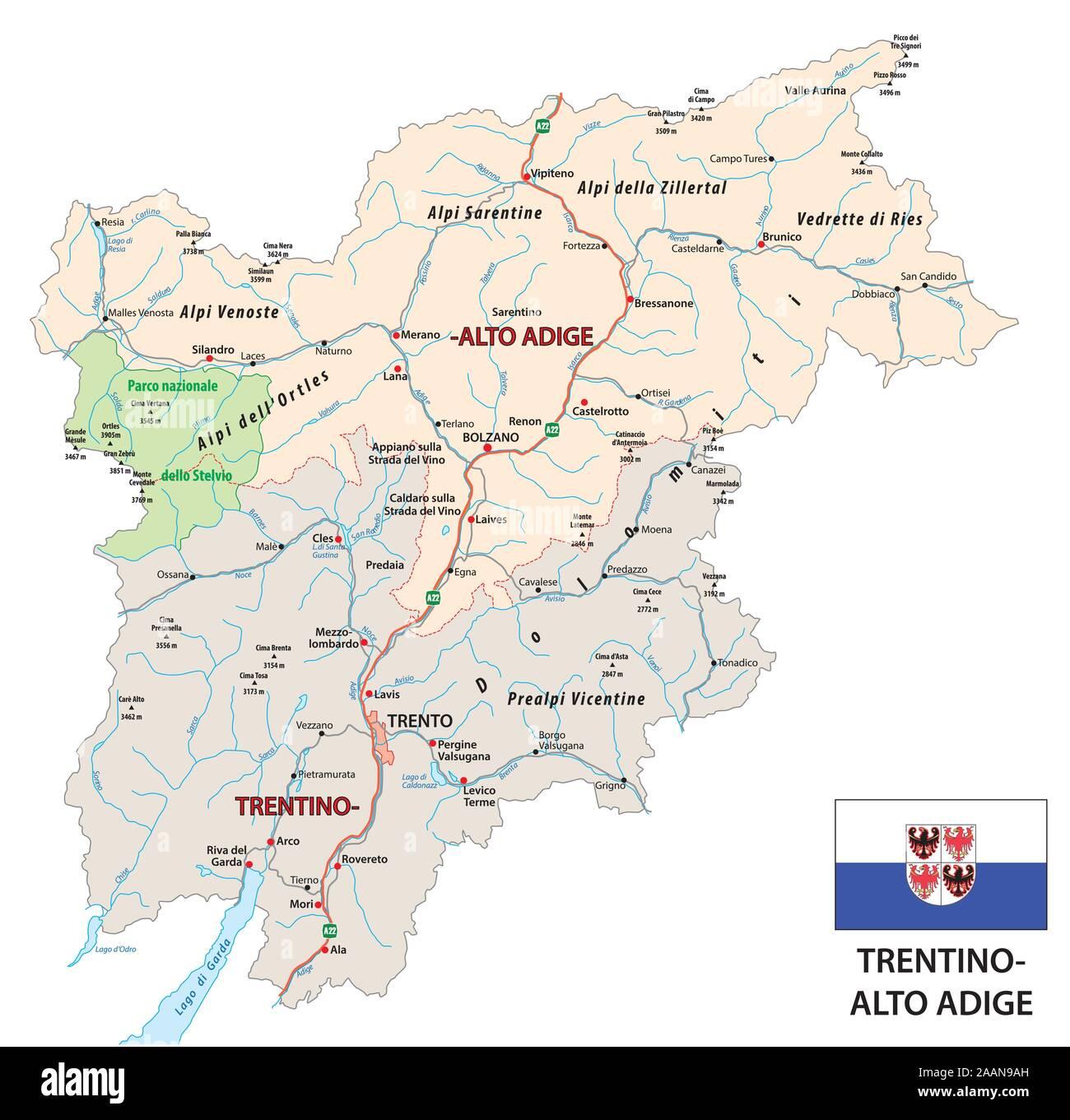 Trentino Alto Adige Cartina Stradale.Trentino Alto Adige Map Immagini E Fotos Stock Alamy