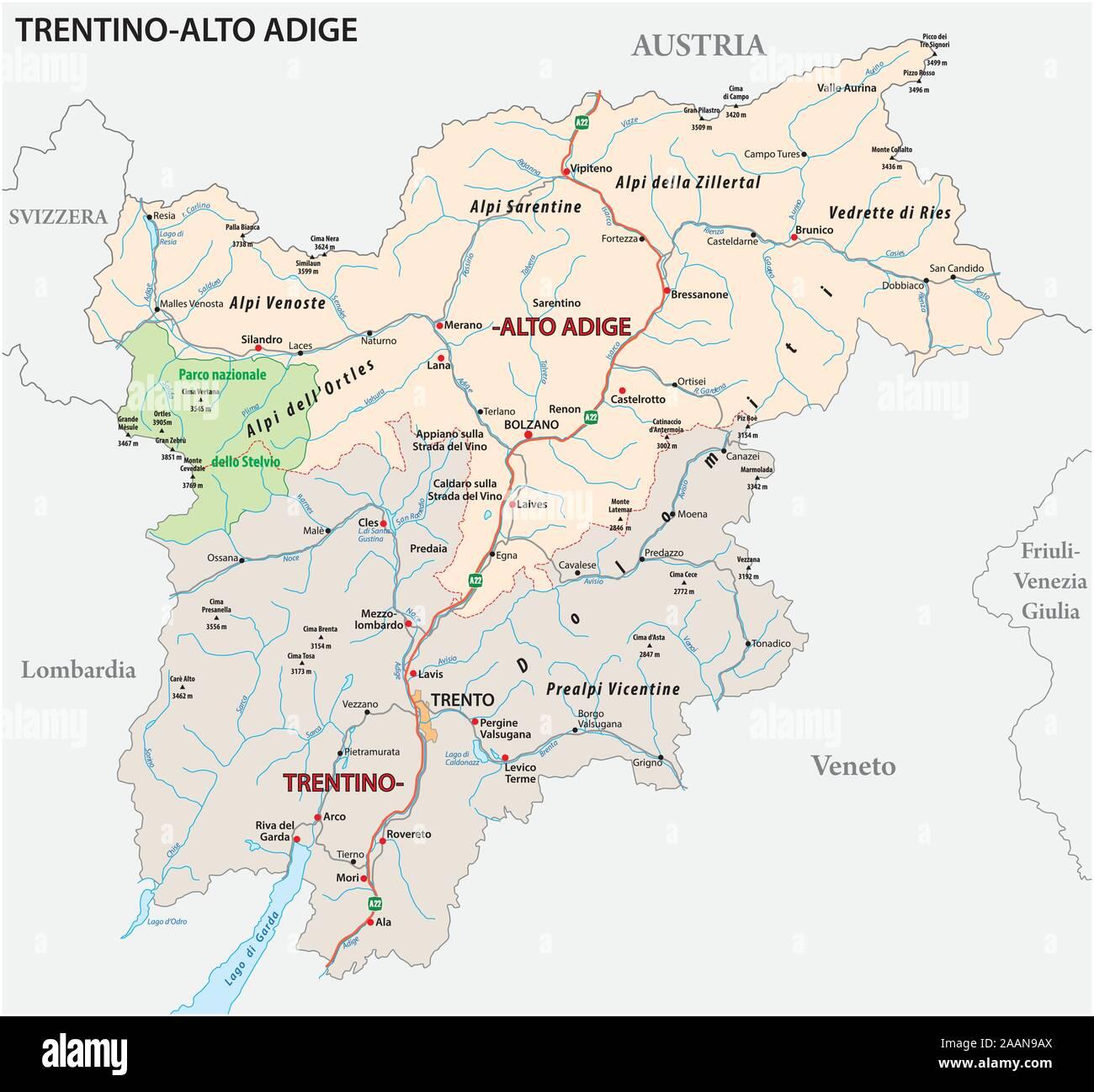 Trentino Alto Adige Cartina Fisica E Politica.Mappa Bolzano Immagini E Fotos Stock Alamy