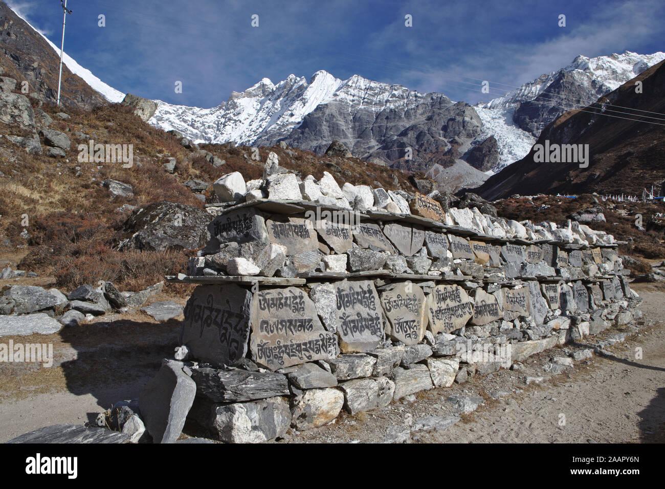 Incisioni su pietre lungo la valle di Langtang con montagne innevate sullo sfondo Foto Stock