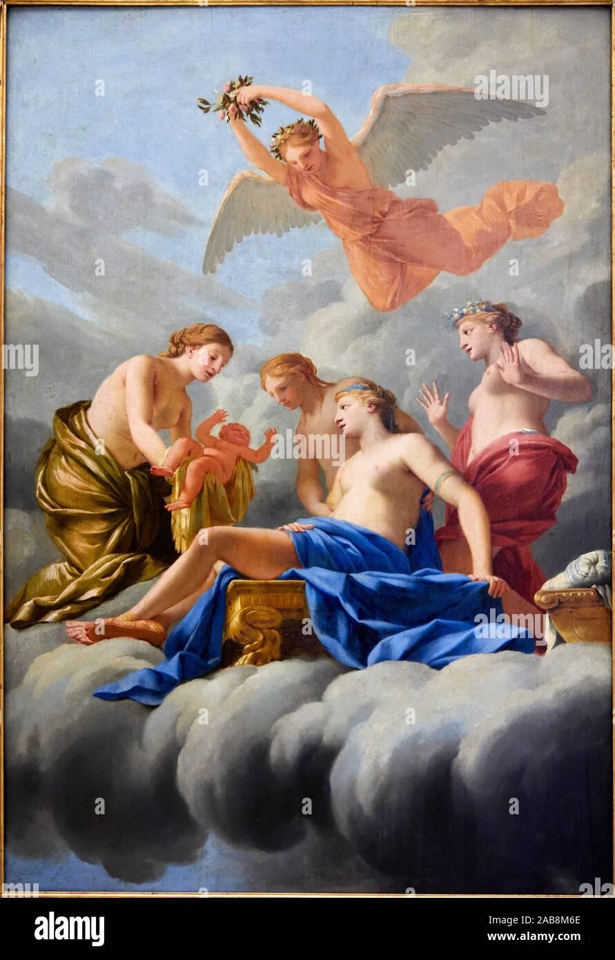 "'''La nascita di Cupido"", 1646-1647, Eustache Le Sueur, il Musée du Louvre, Parigi, Francia, Europa Foto Stock"