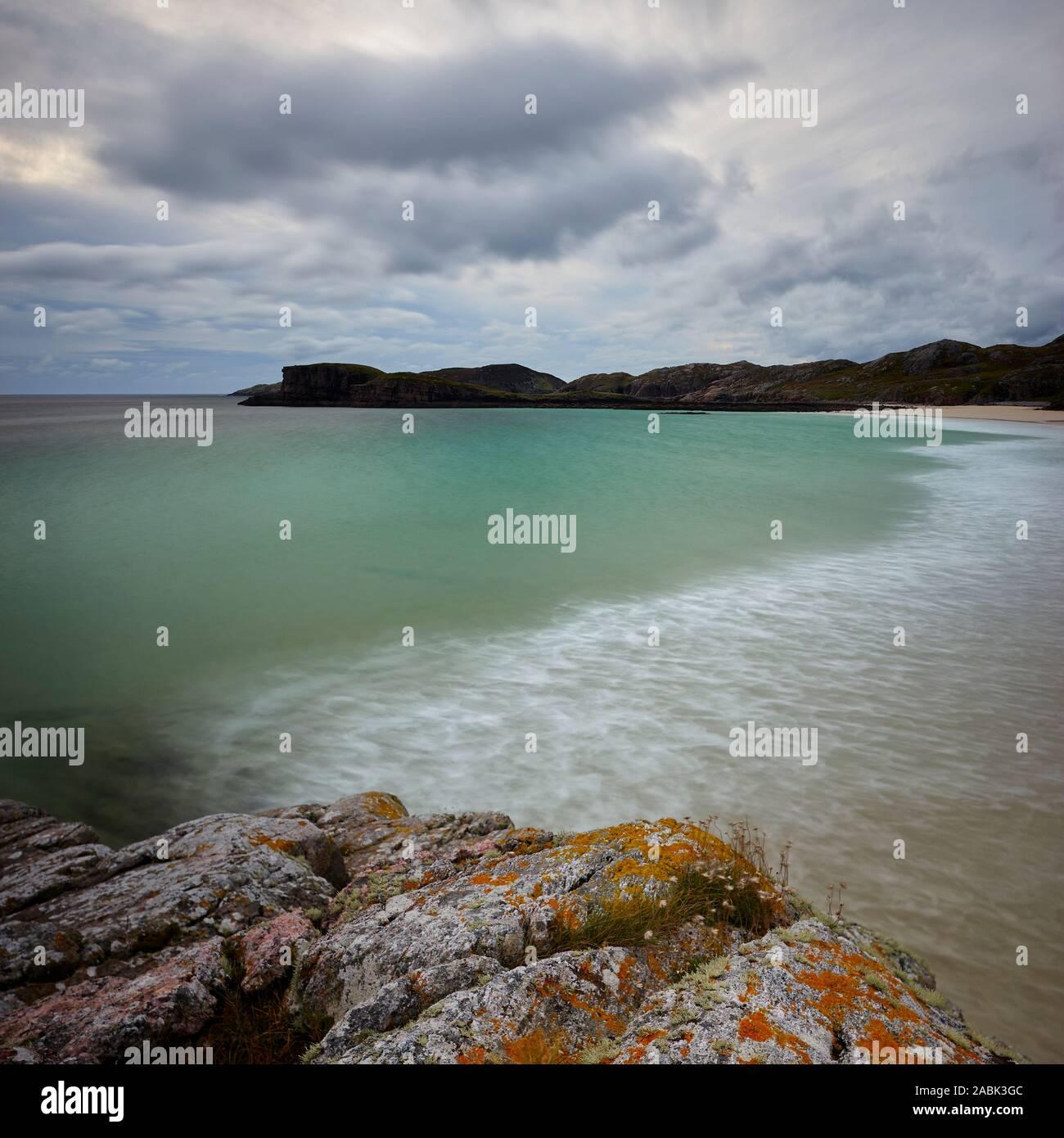 Oldshoremore bay nei pressi di Kinlochbervie, Sutherland, Highland, Scozia. Foto Stock