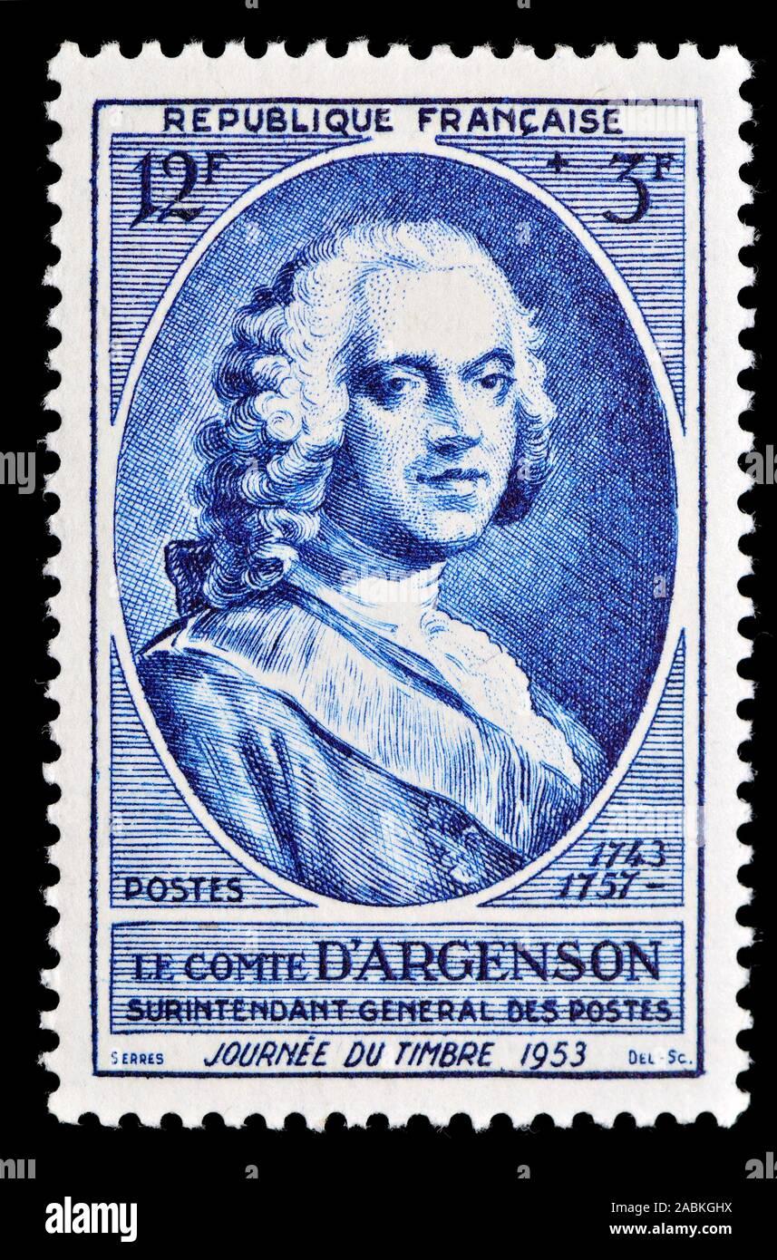 Il francese francobollo (1953) : Marc-Pierre de Voyer de Paulmy, Comte d'Argenson (1696 - 1764), uomo politico francese Foto Stock