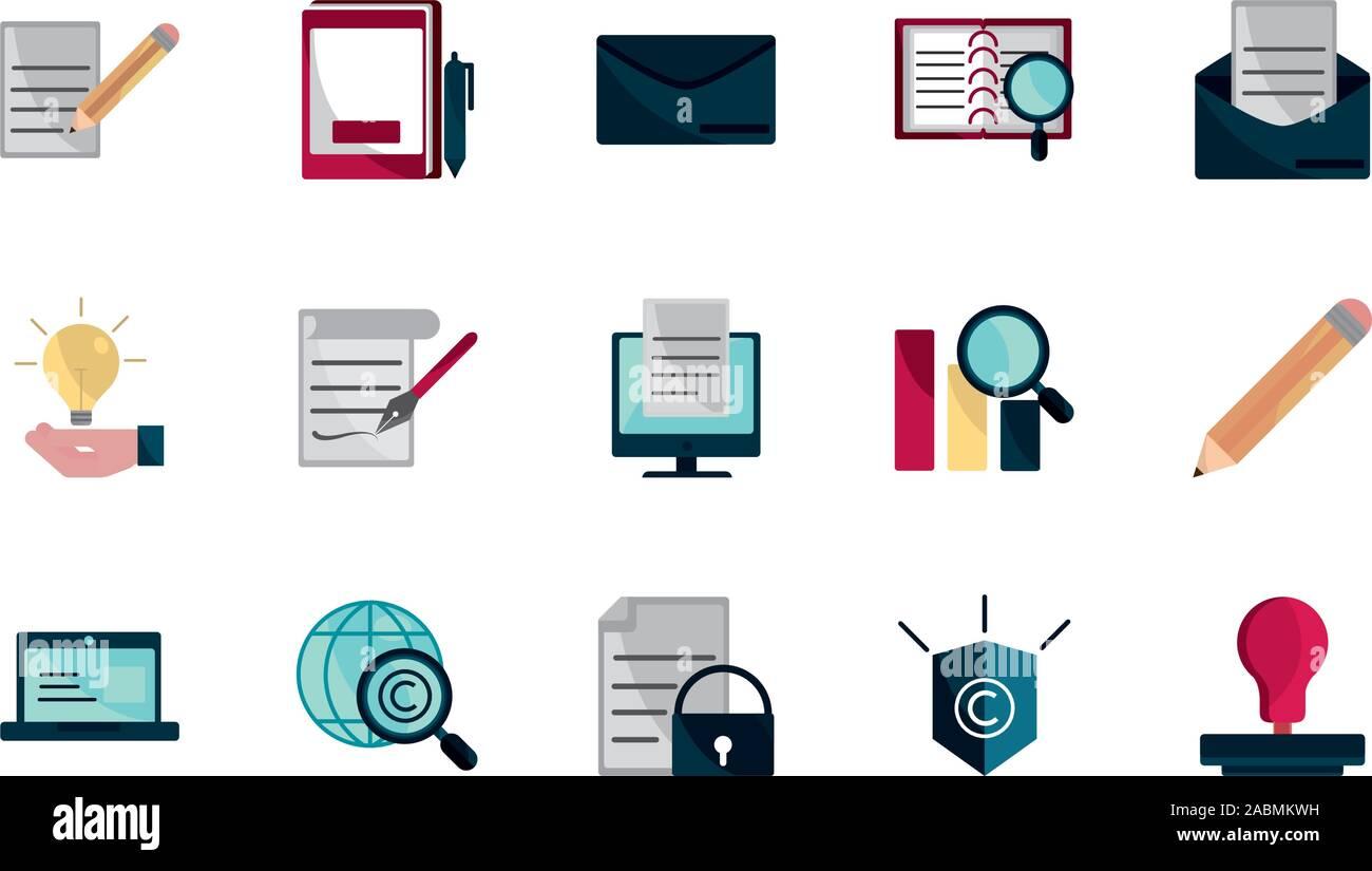 Proprietà intellettuale copyright set di icone illustrazione vettoriale Illustrazione Vettoriale