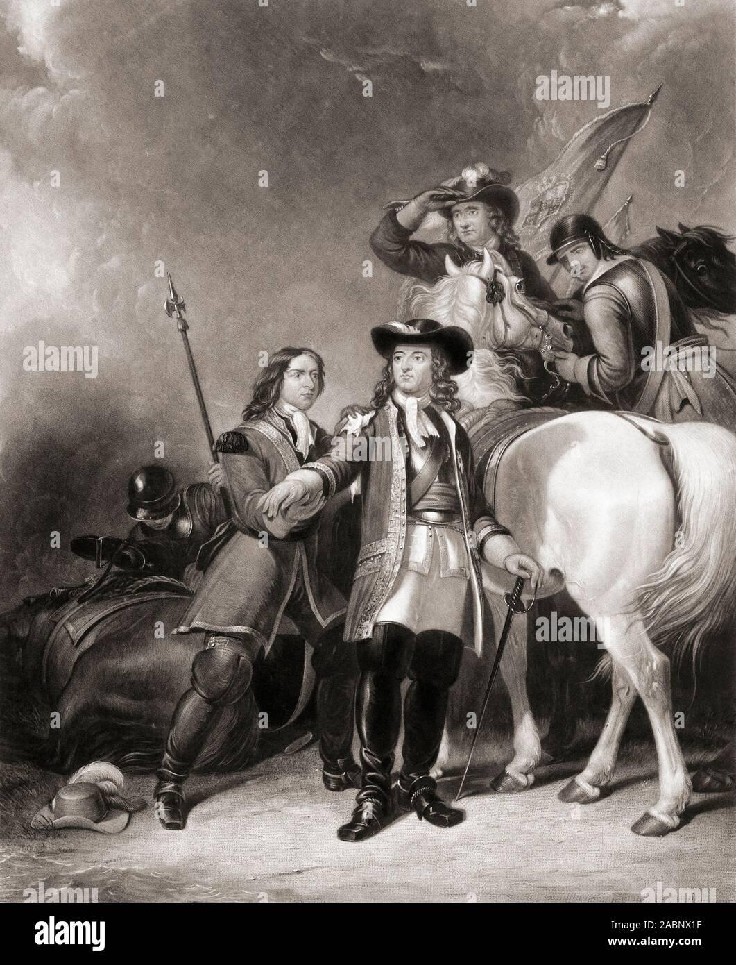 I fortunati la fuga di Guglielmo III il 30 giugno 1690, il giorno prima della battaglia del Boyne. Il Re è stata ferita alla spalla da una scheggia dal fuoco d'artiglieria durante la misurazione i guadi sul fiume Boyne. Nella foto Signore Coningsby staunches il Re della ferita. Da una incisione di William Giller dopo un lavoro di Abraham Cooper. Foto Stock