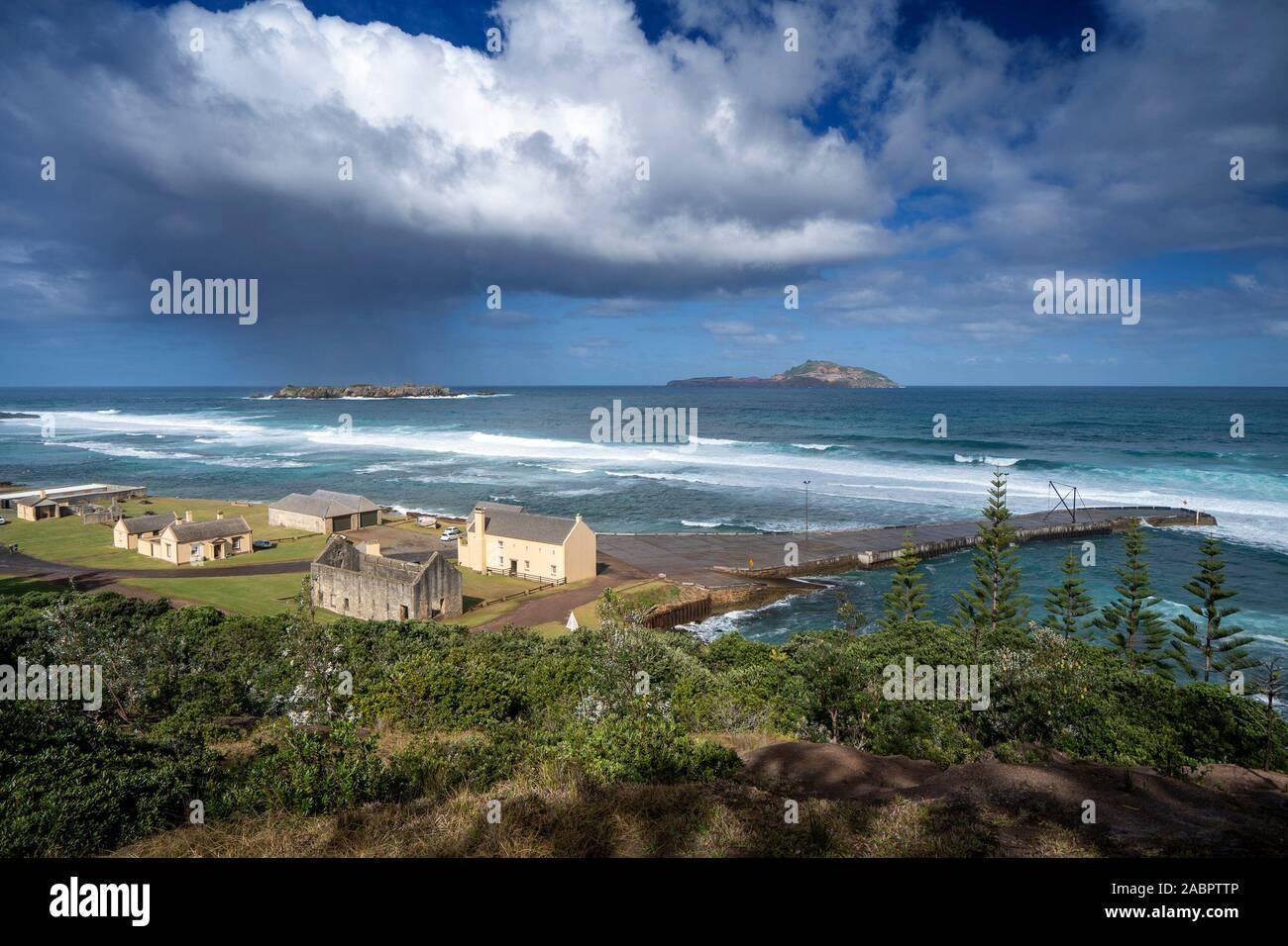 Kingston e Arthur's Vale Area Storica, una delle undici luoghi che compongono i Penitenziari australiani Patrimonio Mondiale. Isola di Norfolk. Foto Stock