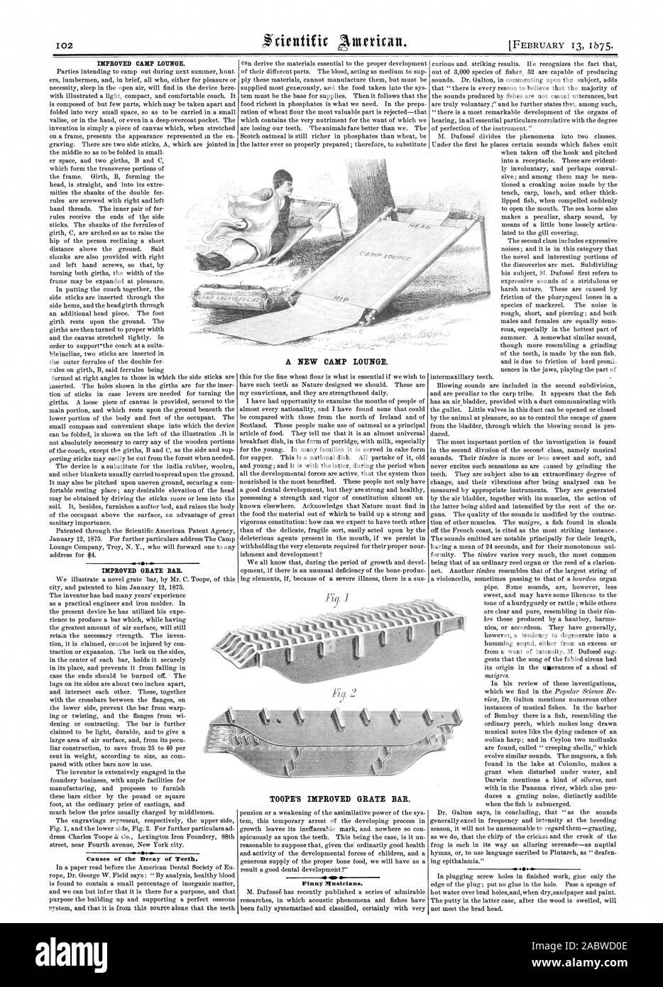 Cause del degrado di denti. TOOPE migliorata del bar della griglia. Finny musicisti. 400 un nuovo accampamento LOUNGE., Scientific American, 1875-02-13 Foto Stock