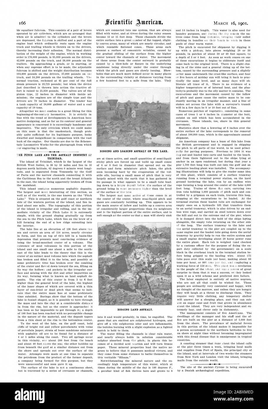 Il passo del lago e l'asfalto dell'industria di Trinidad. Lo scavo e il caricamento di asfalto sul lago., Scientific American, 01-03-16 Foto Stock