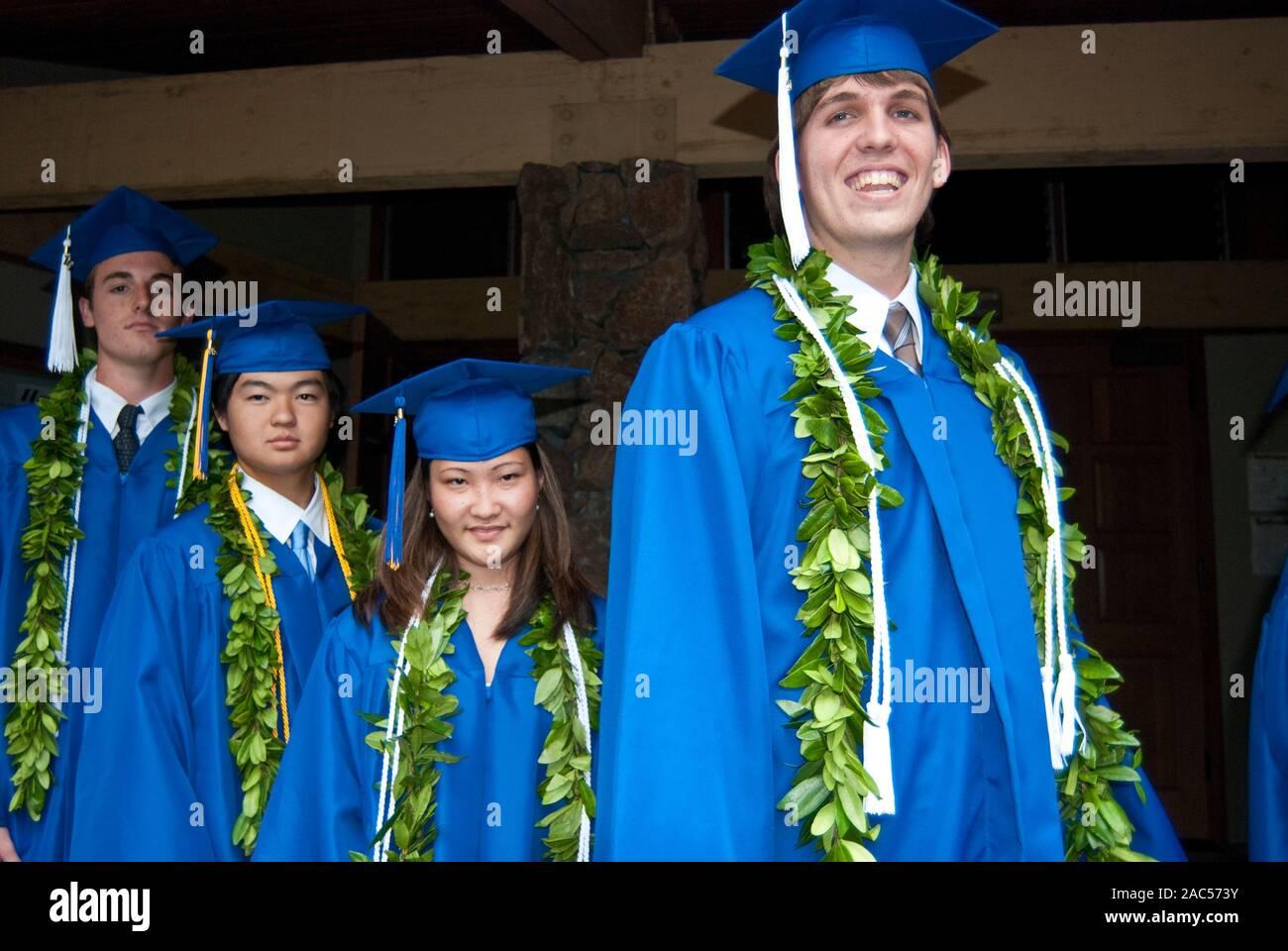 Diploma di scuola superiore da Academy del Pacifico, ora chiuso una scuola privata, a Honolulu, sull'isola di O'ahu. Foto Stock