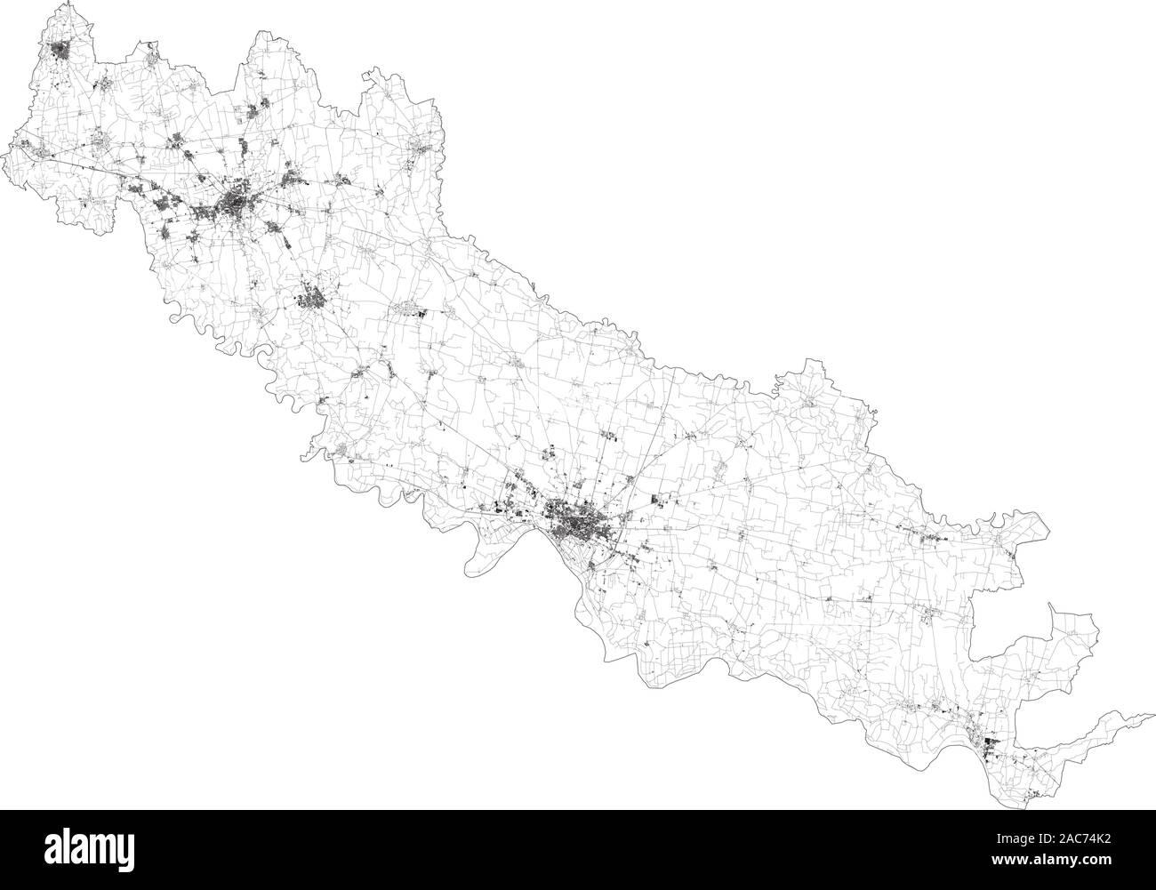 Cartina Geografica Cartina Comuni Della Provincia Di Cremona.Italy Lombardy Milan Highway Immagini E Fotos Stock Alamy