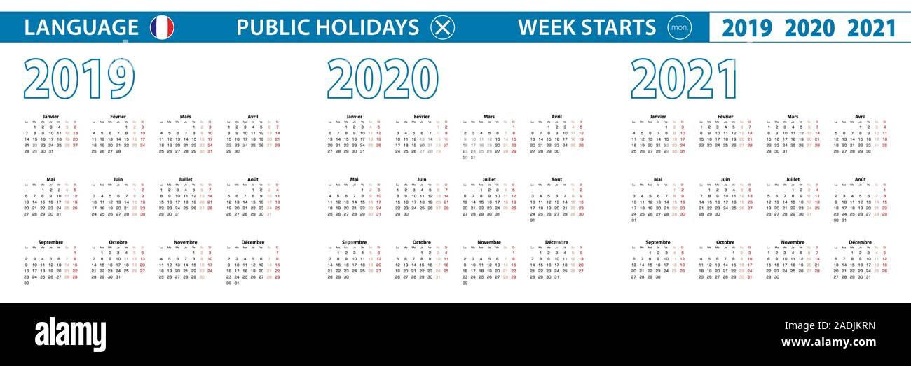 Semplice modello di calendario in francese per il 2019, 2020, 2021
