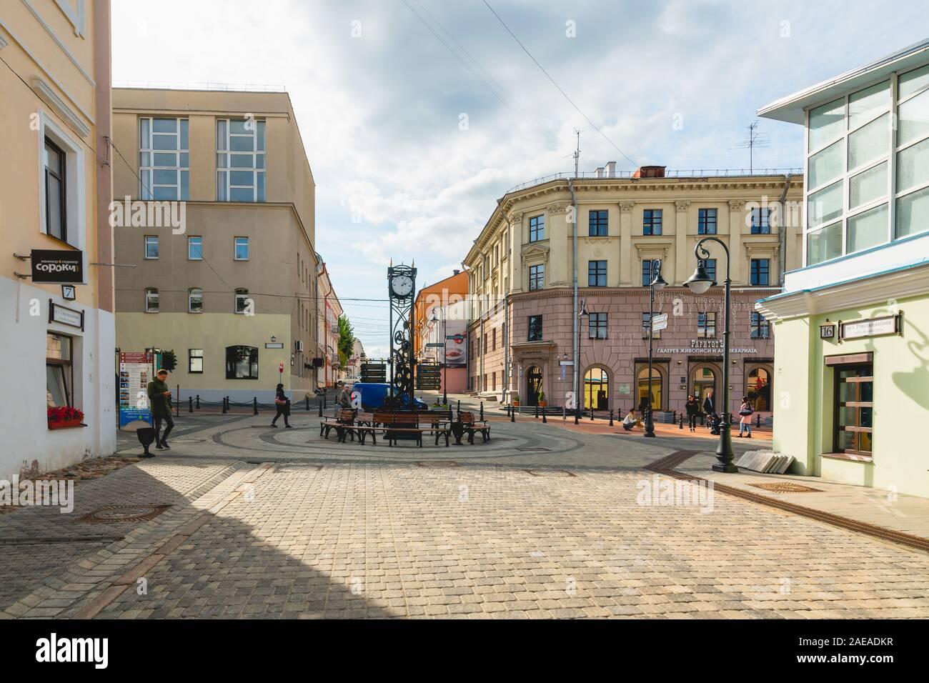 Minsk, Bielorussia - 24 settembre 2019 a Minsk, Downtown, rivoluzione Street. Street view, la vita della città, architettura. Foto Stock