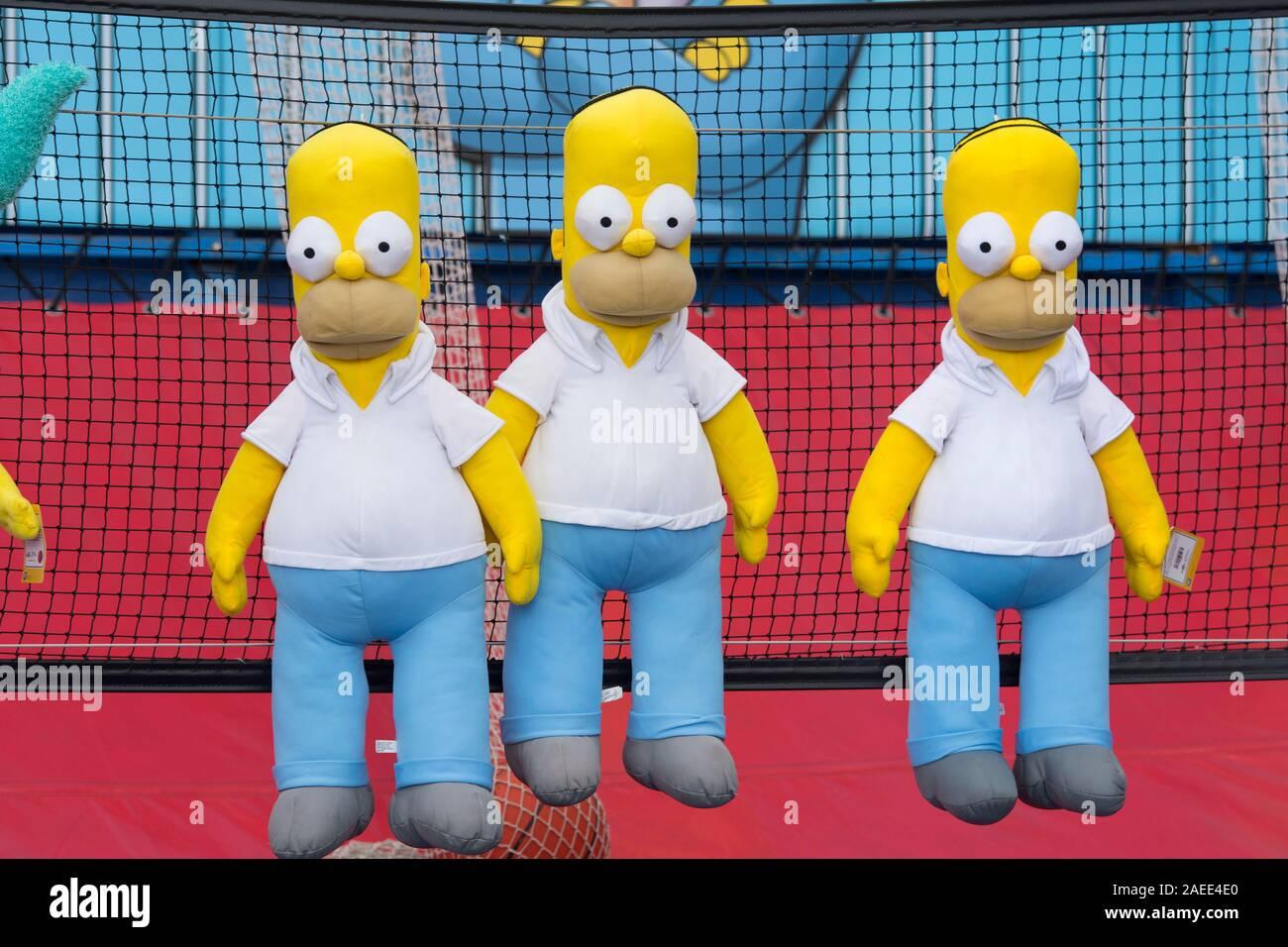 Homer Simpson, peluche e giocattoli Foto Stock