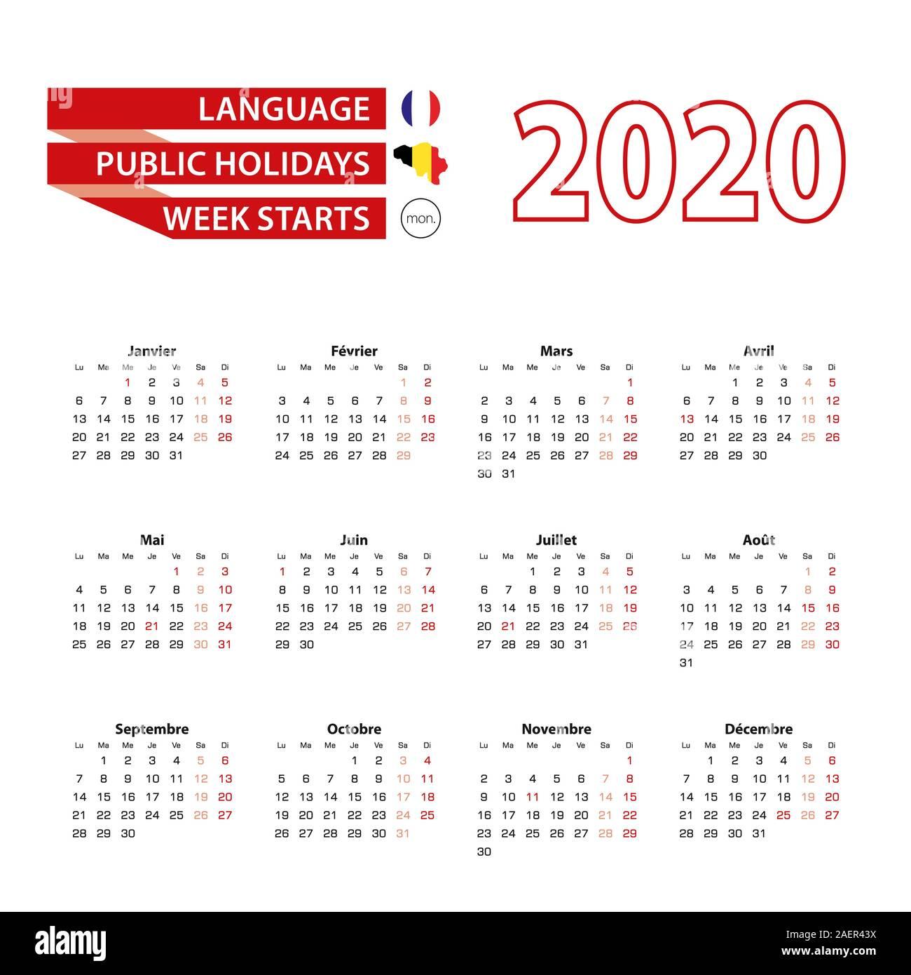 Calendario 2021 Festività Belgio Calendario 2020 in lingua francese con i giorni festivi il paese