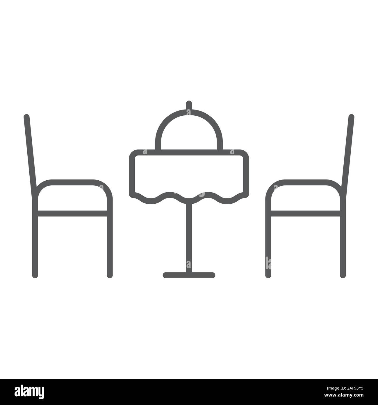 Cena romantica linea sottile icona, Valentino e vacanza, tavolo con sedie segno, grafica vettoriale, un modello lineare su uno sfondo bianco, eps 10. Illustrazione Vettoriale