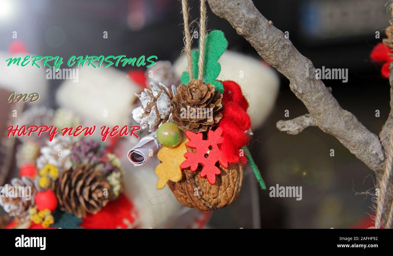 Cartoline Buon Natale E Felice Anno Nuovo.Buon Natale E Felice Anno Nuovo Foto Di Copertina Cartolina Di Vacanza Foto Stock Alamy