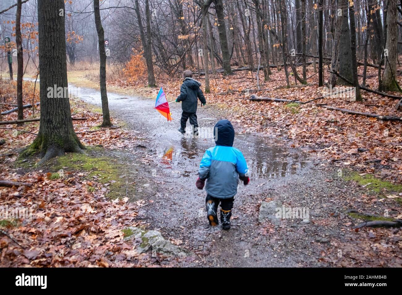Due calorosamente vestita di Fratelli, giovani ragazzi di età compresa tra 2 e 5, sono correndo giù per un sentiero attraverso la foresta. Nel tardo autunno, foglie di autunno sono sul g Foto Stock