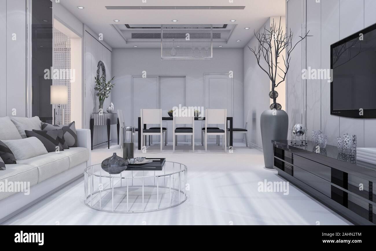3d Rendering Bello Design Moderno Soggiorno E Sala Da Pranzo Di Lusso Con Divano Grigio E Tv Ripiano E Tavolo Da Pranzo Foto Stock Alamy