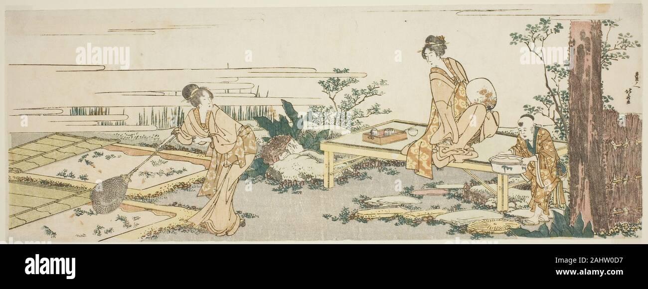 Katsushika Hokusai. Goldfish farm. 1760-1849. Il Giappone. Colore stampa woodblock; nagaban, surimono Foto Stock