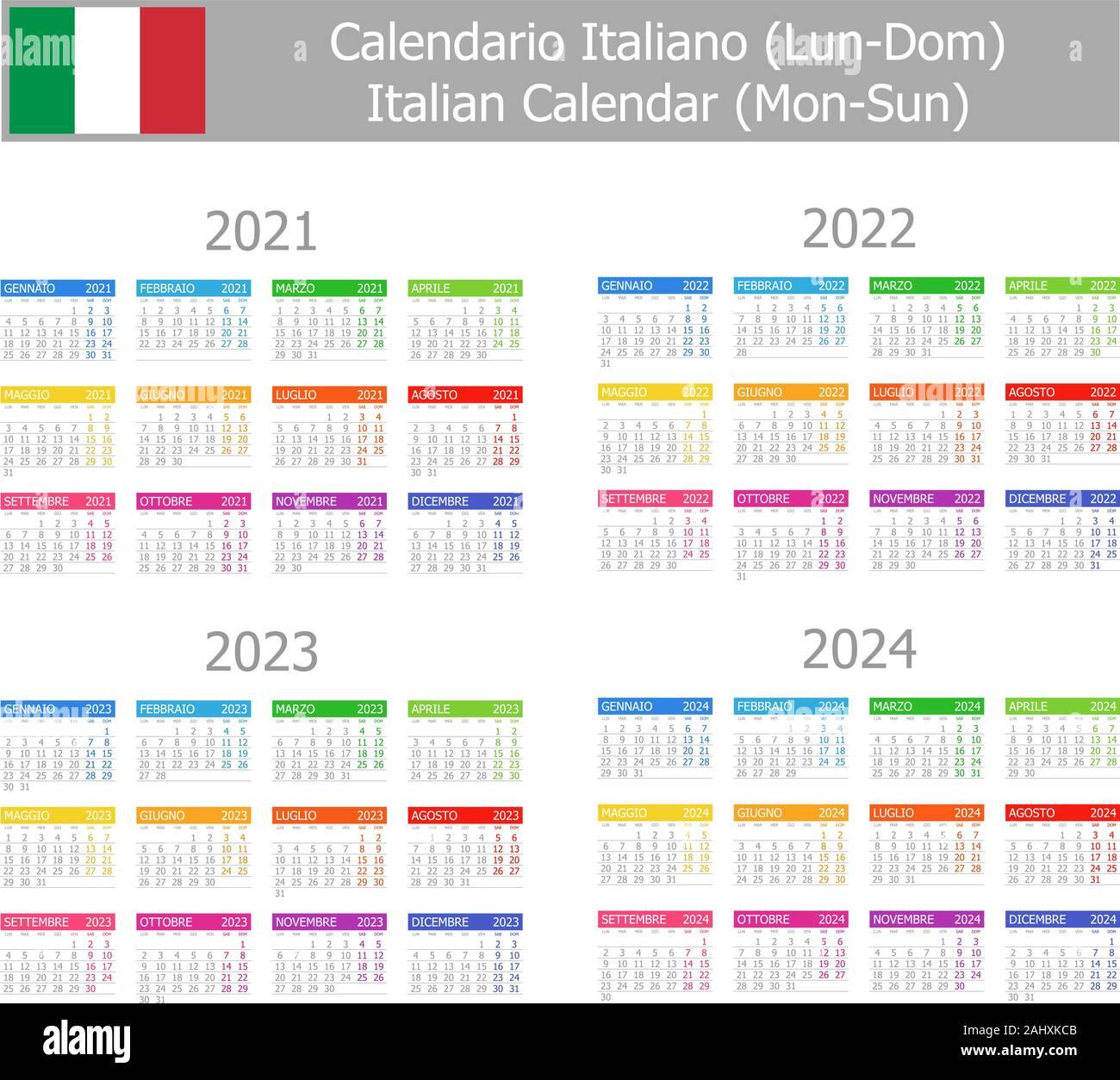 2021 2024 Italiano Tipo 1 Calendario Lun dom su sfondo bianco