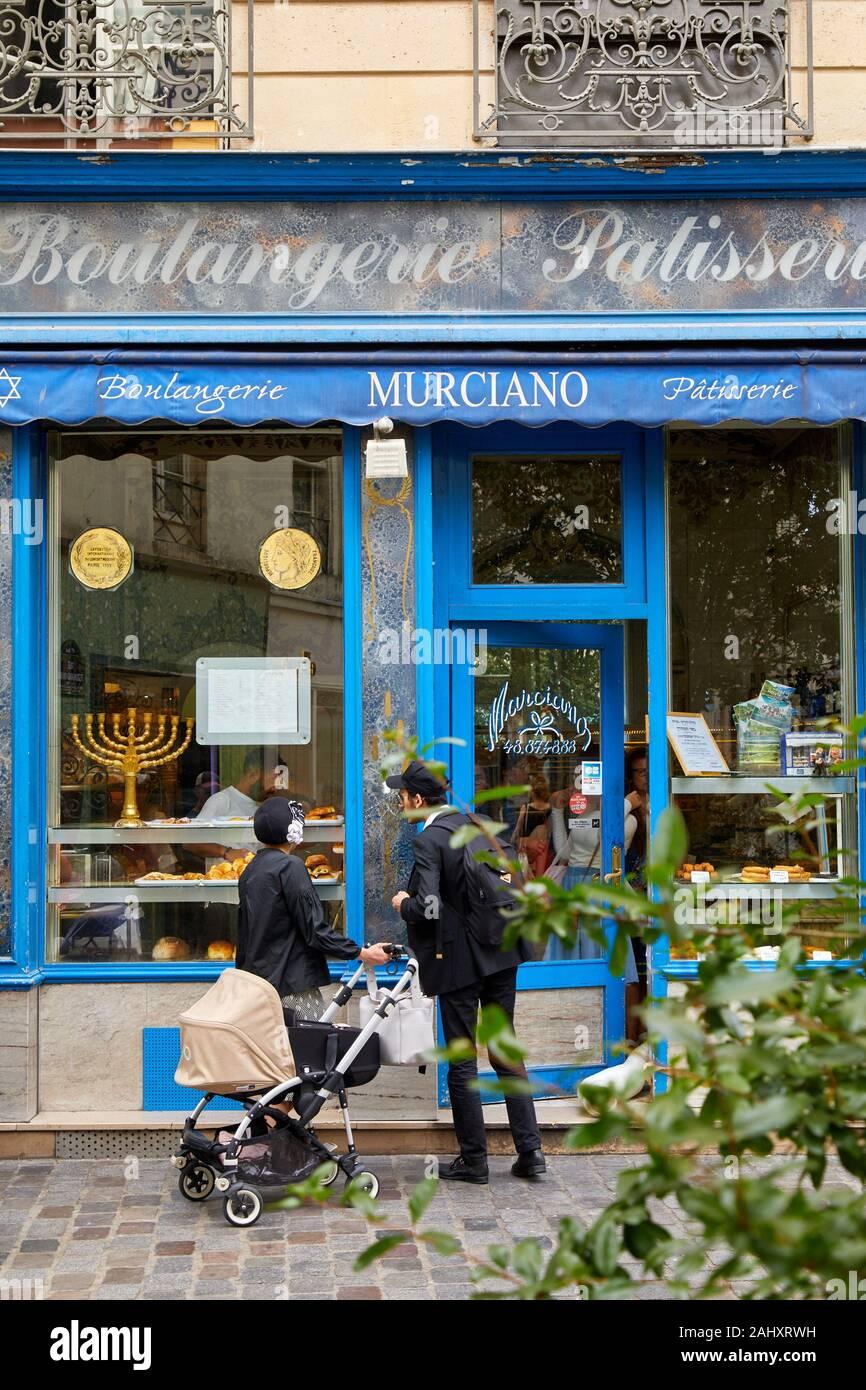 Panificio, negozi ebrei a Le Marais, Parigi, Francia Foto Stock