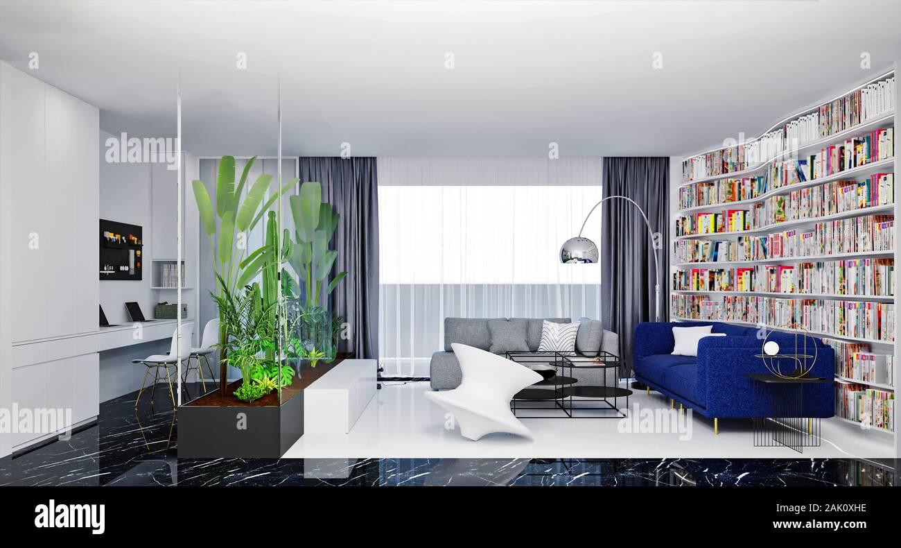 3D render del moderno arredamento soggiorno Foto Stock