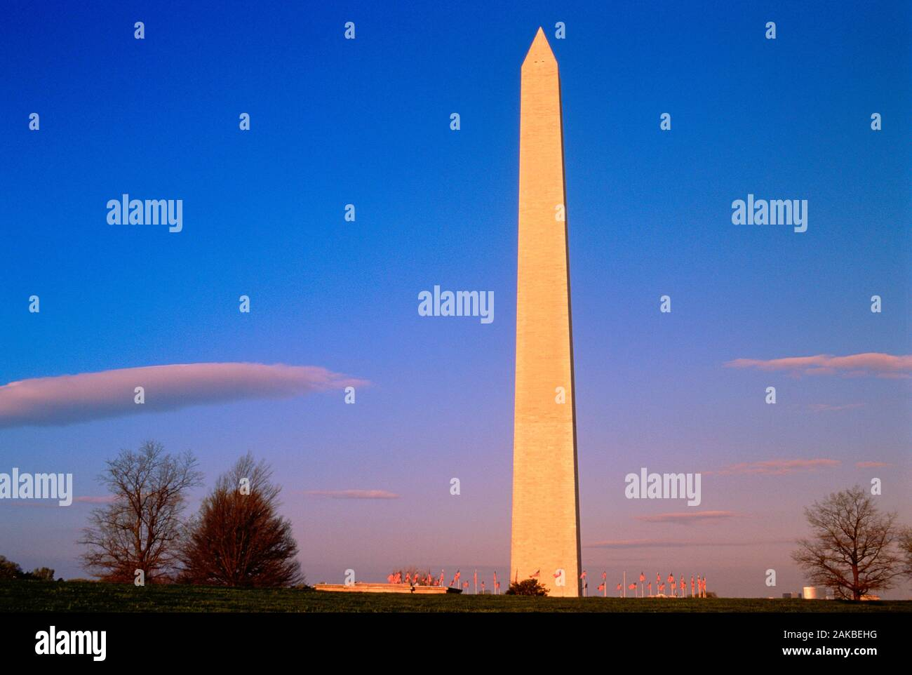 Il Monumento a Washington al tramonto, Washington DC, Stati Uniti d'America Foto Stock